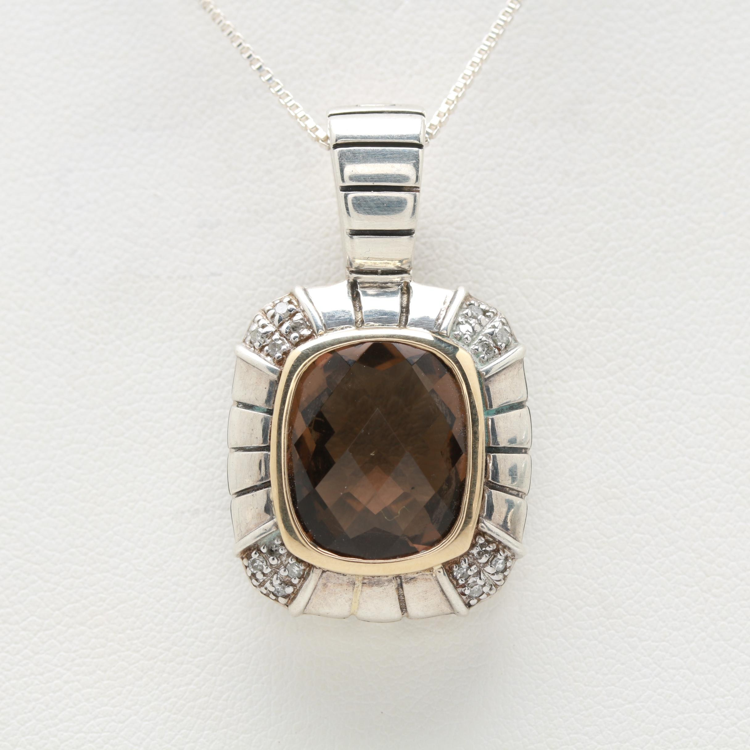 Sterling Smoky Quartz and Diamond Enhancer Pendant Necklace with 14K Accent
