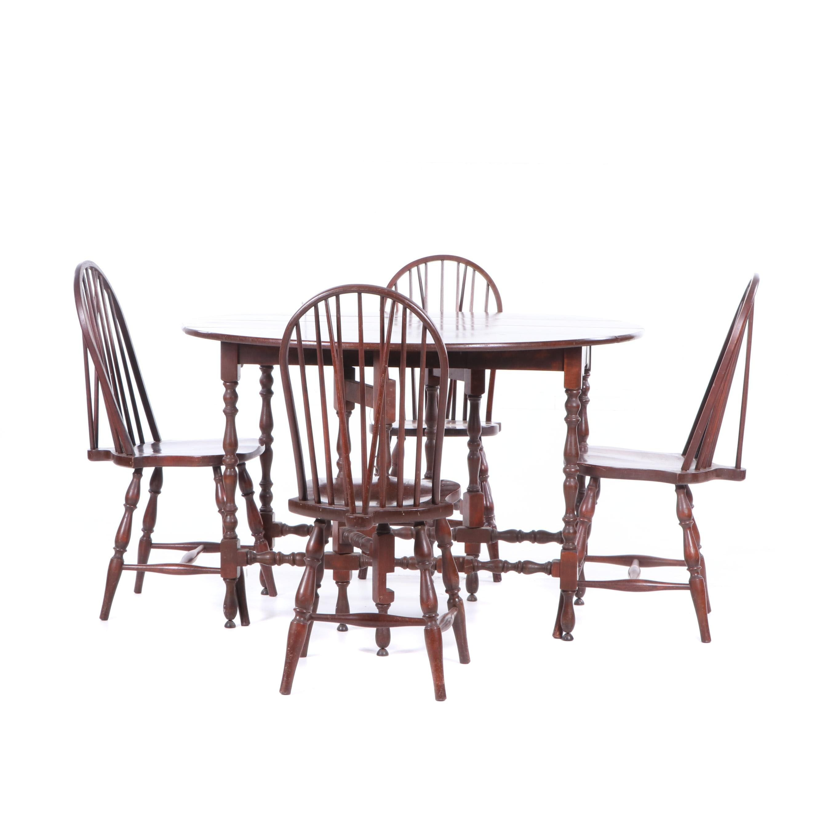 Colonial Style Mahogany Gate Leg Table with Brace Back Side Chairs, Early 20th