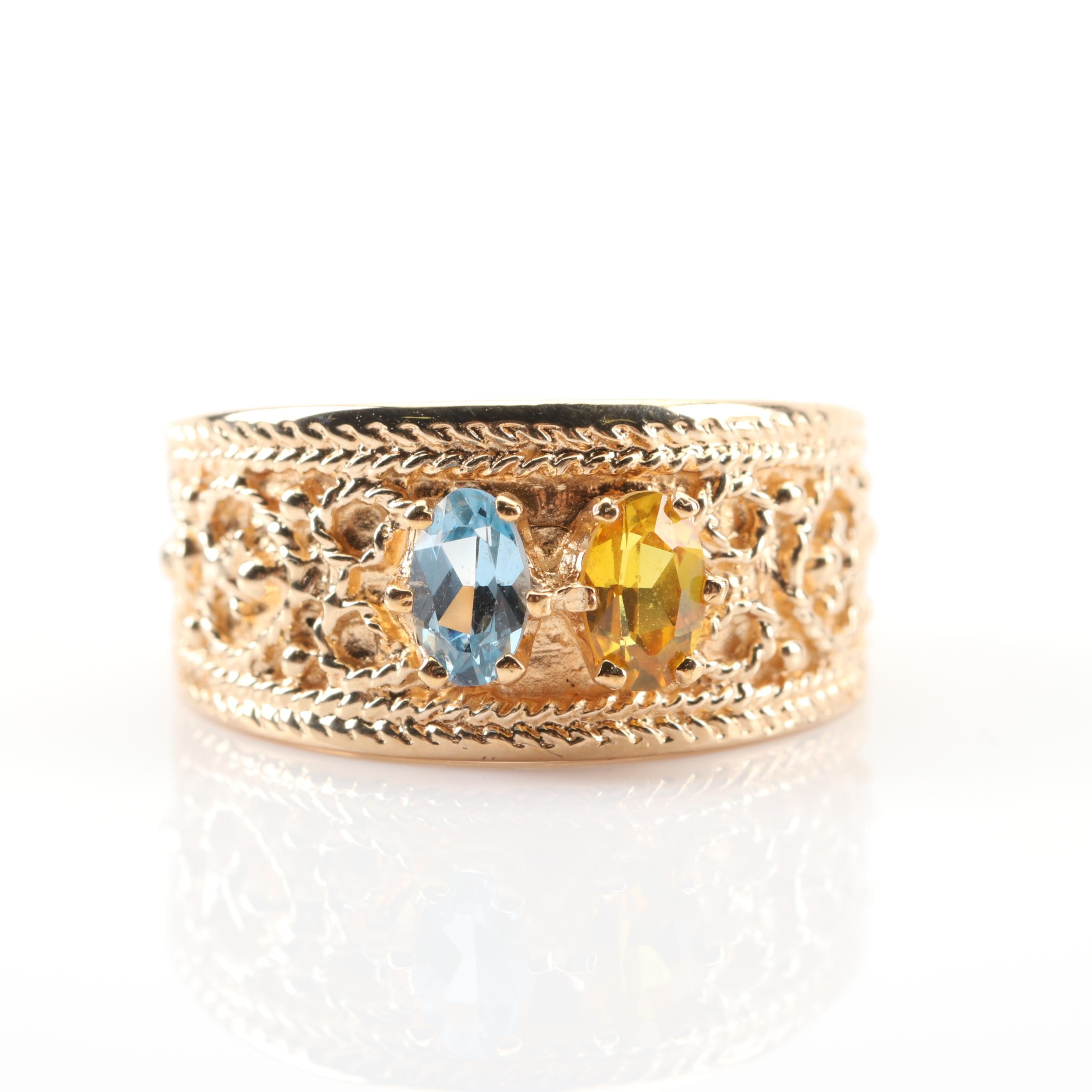 10K Yellow Gold Synthetic Blue Spinel and Yellow Sapphire Ring