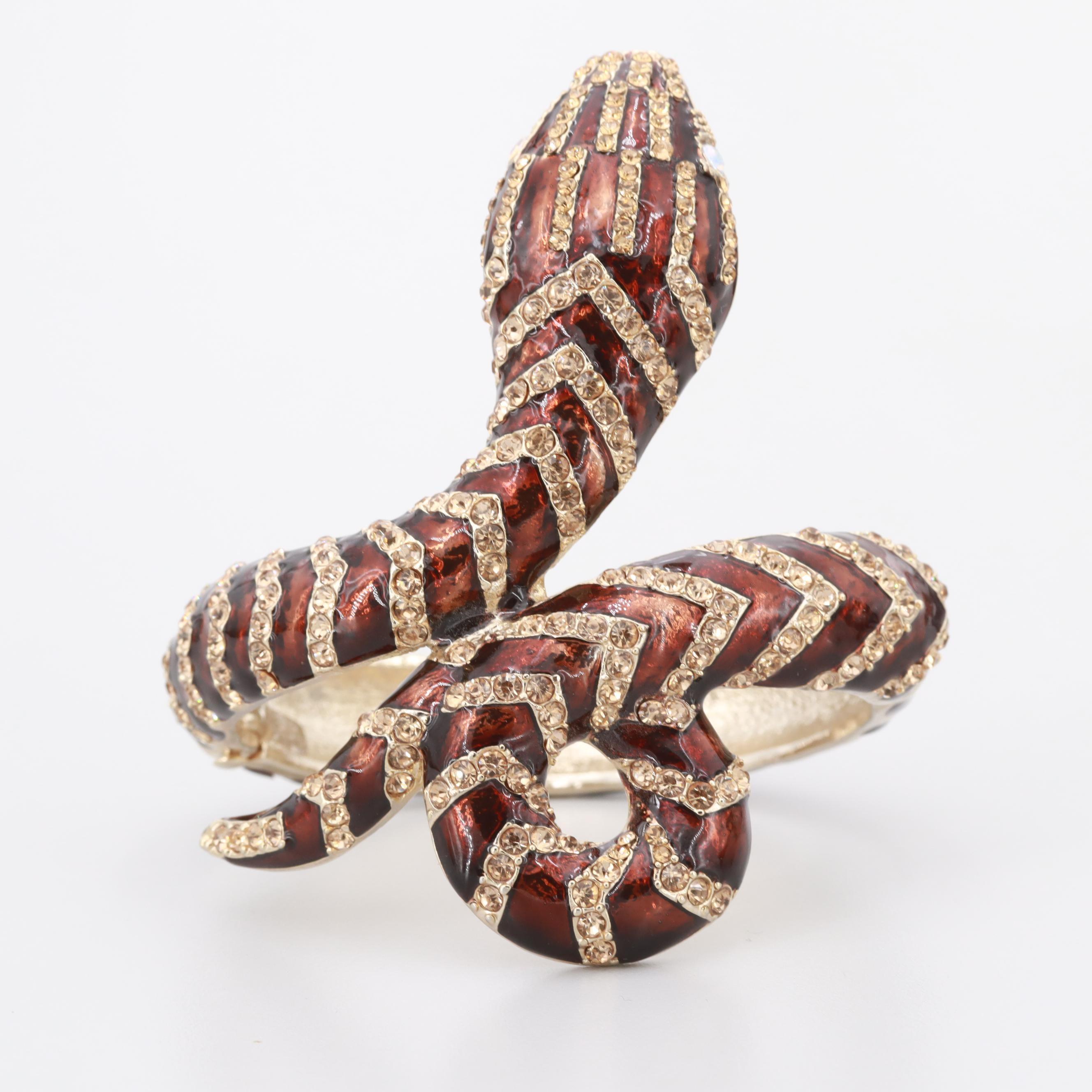 Gold Tone Enamel and Aurora Borealis Glass Snake Bracelet