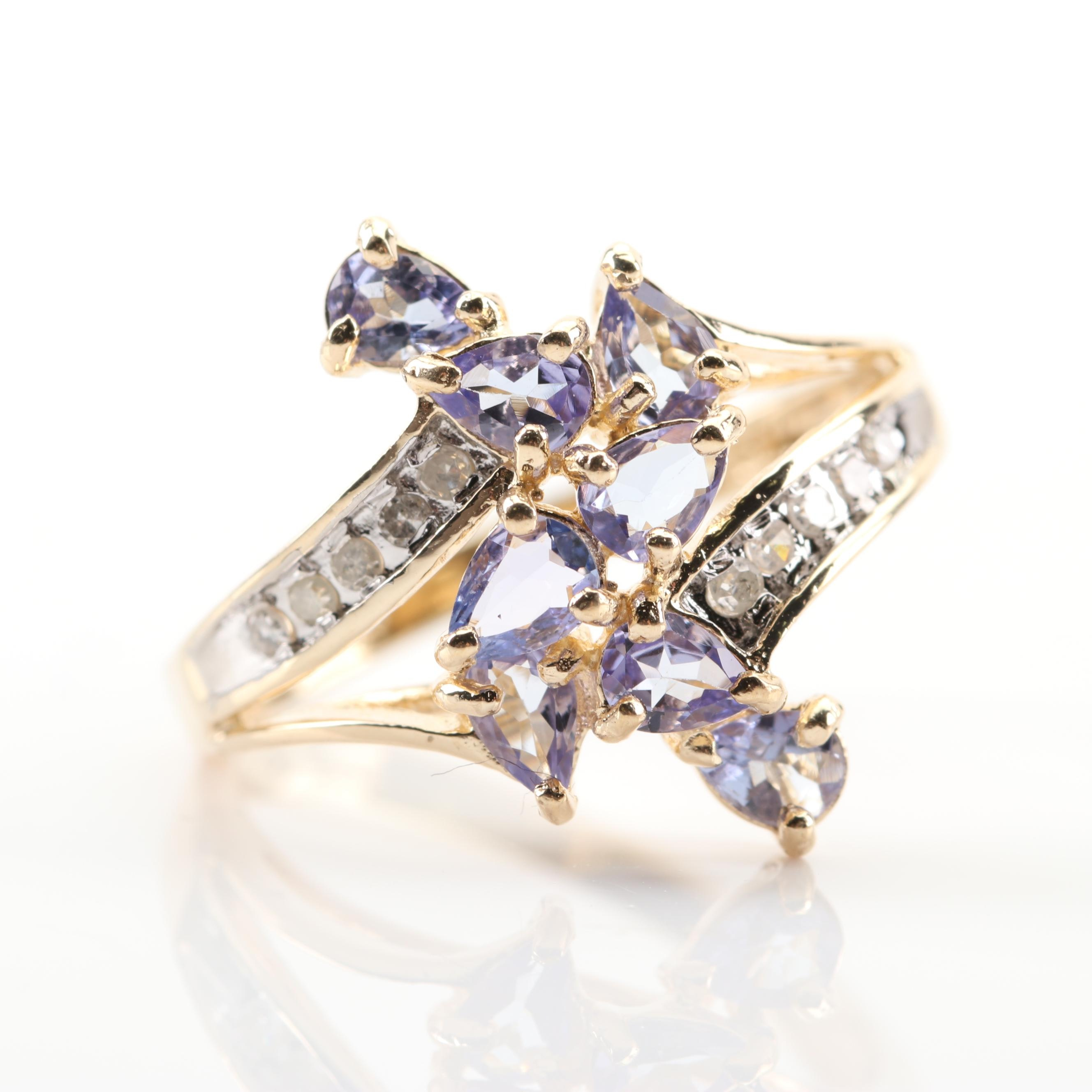 10K Yellow Gold Tanzanite and Diamond Cluster Ring