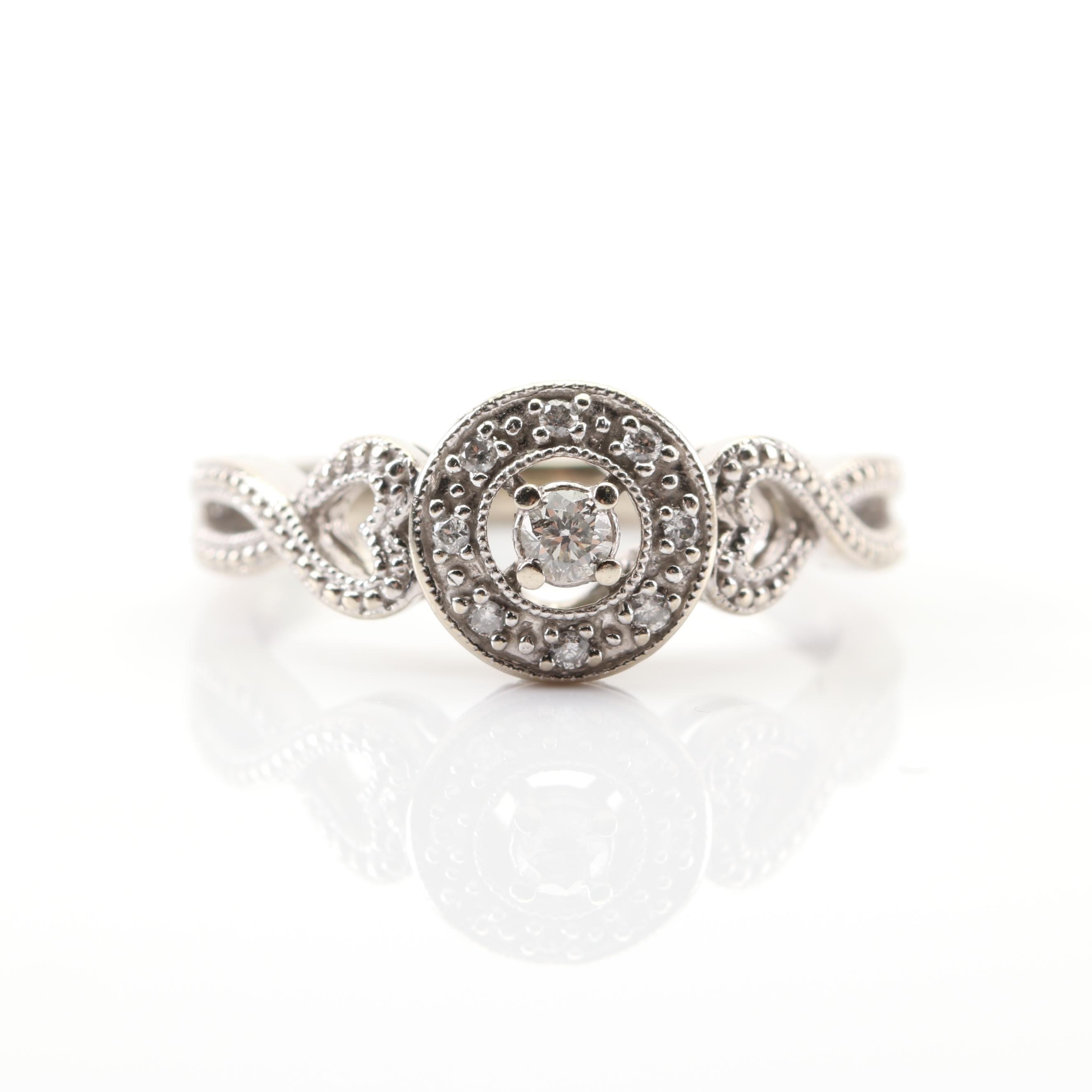 10K White Gold Diamond Halo Ring