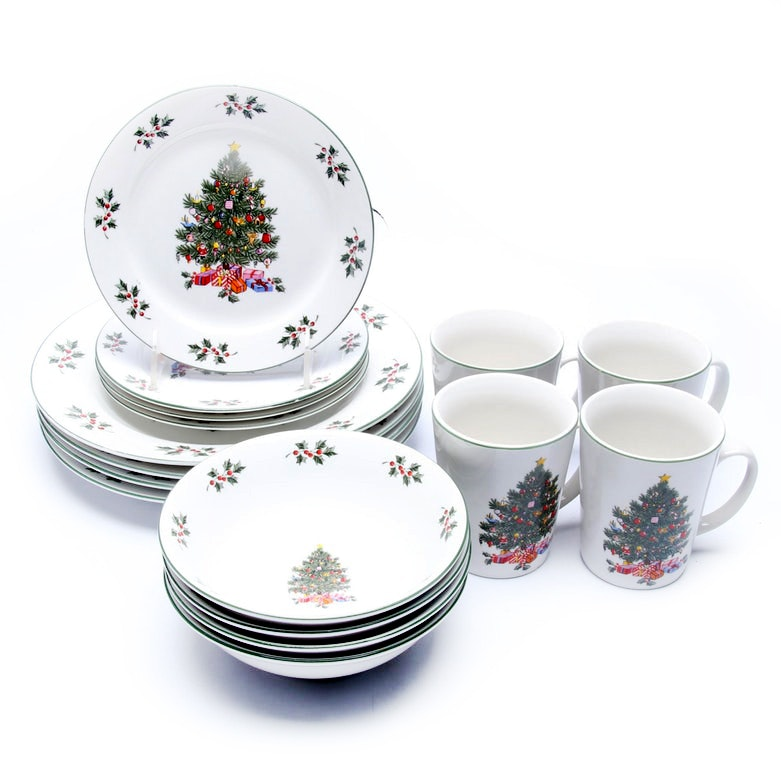 Four Set Christmas Dishes by Gibson in the Box