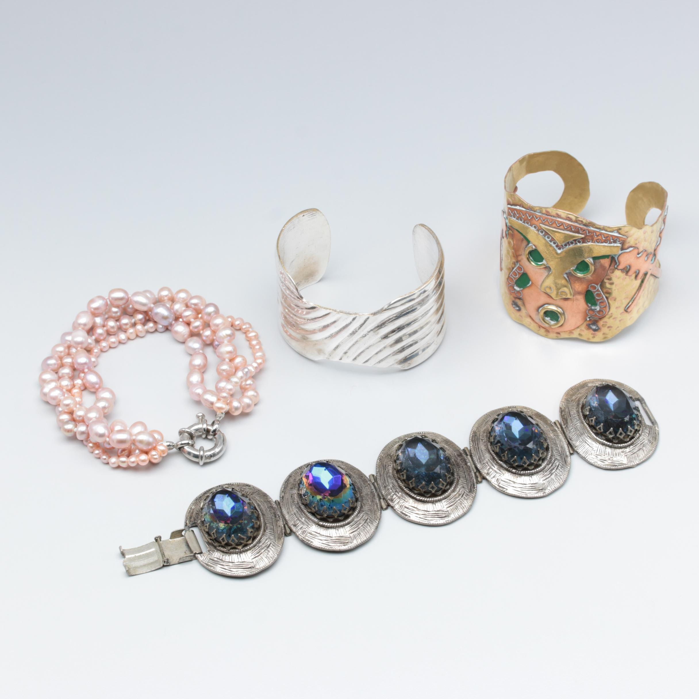 Assortment of Costume Cultured Pearl and Foilback Jewelry
