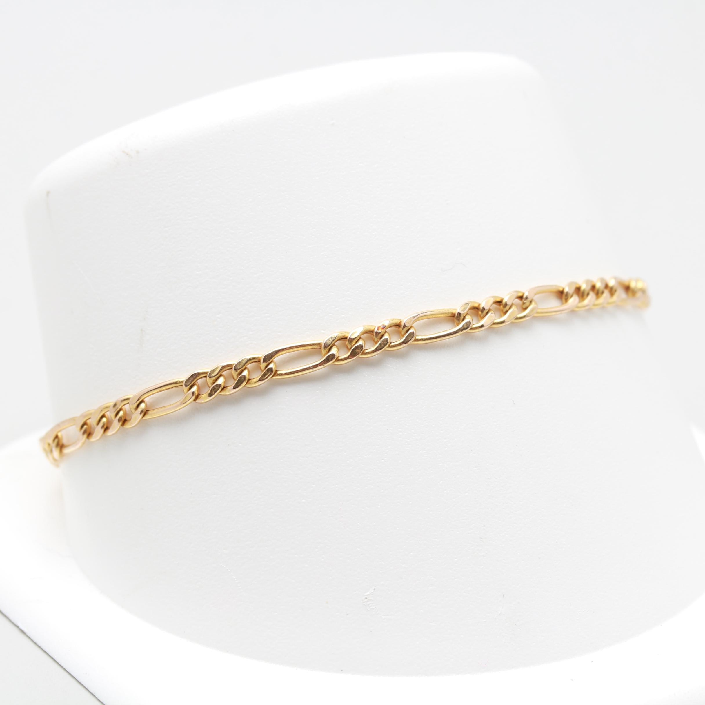10K Yellow Gold Figaro Bracelet