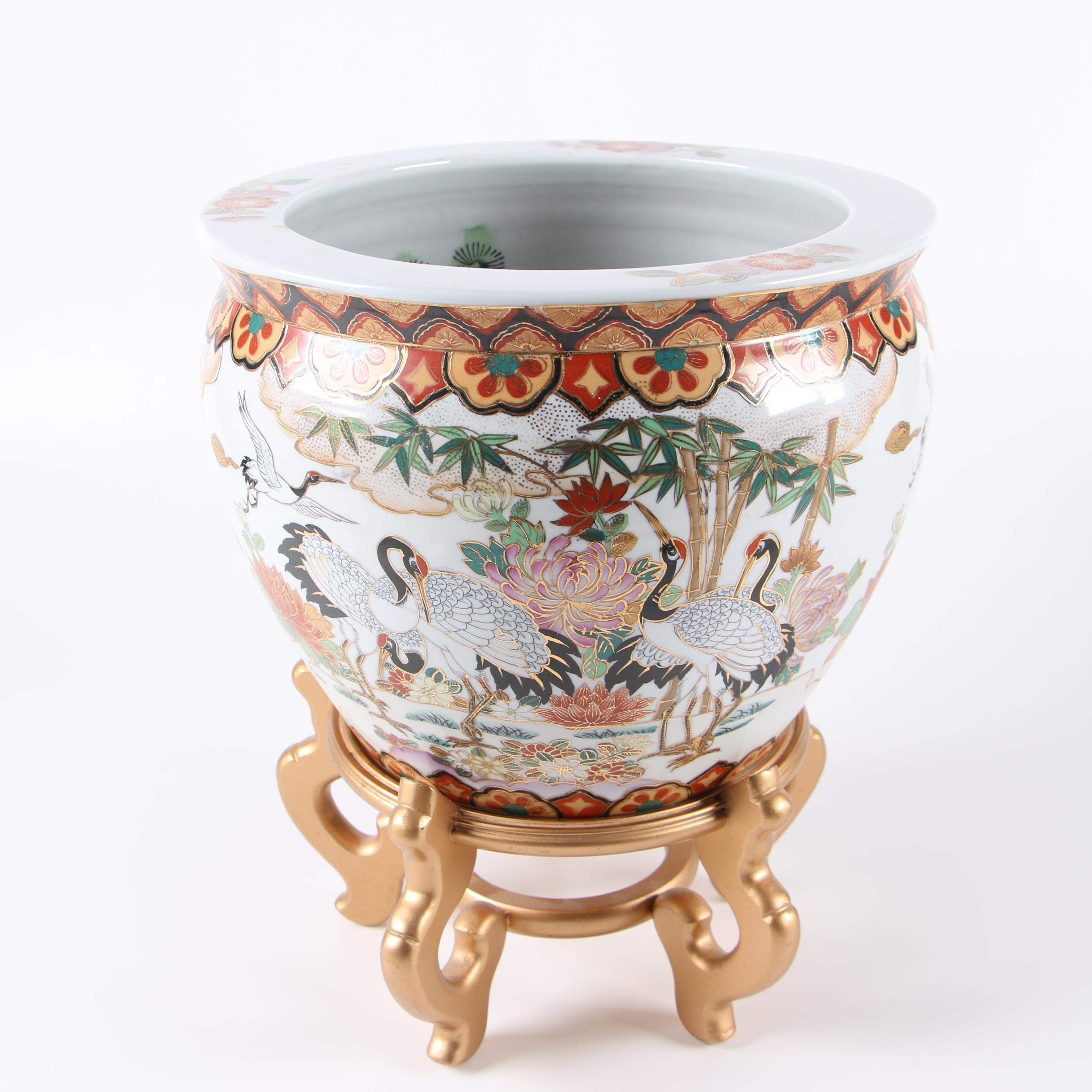 Chinese Porcelain Fishbowl Planter With Stand Ebth