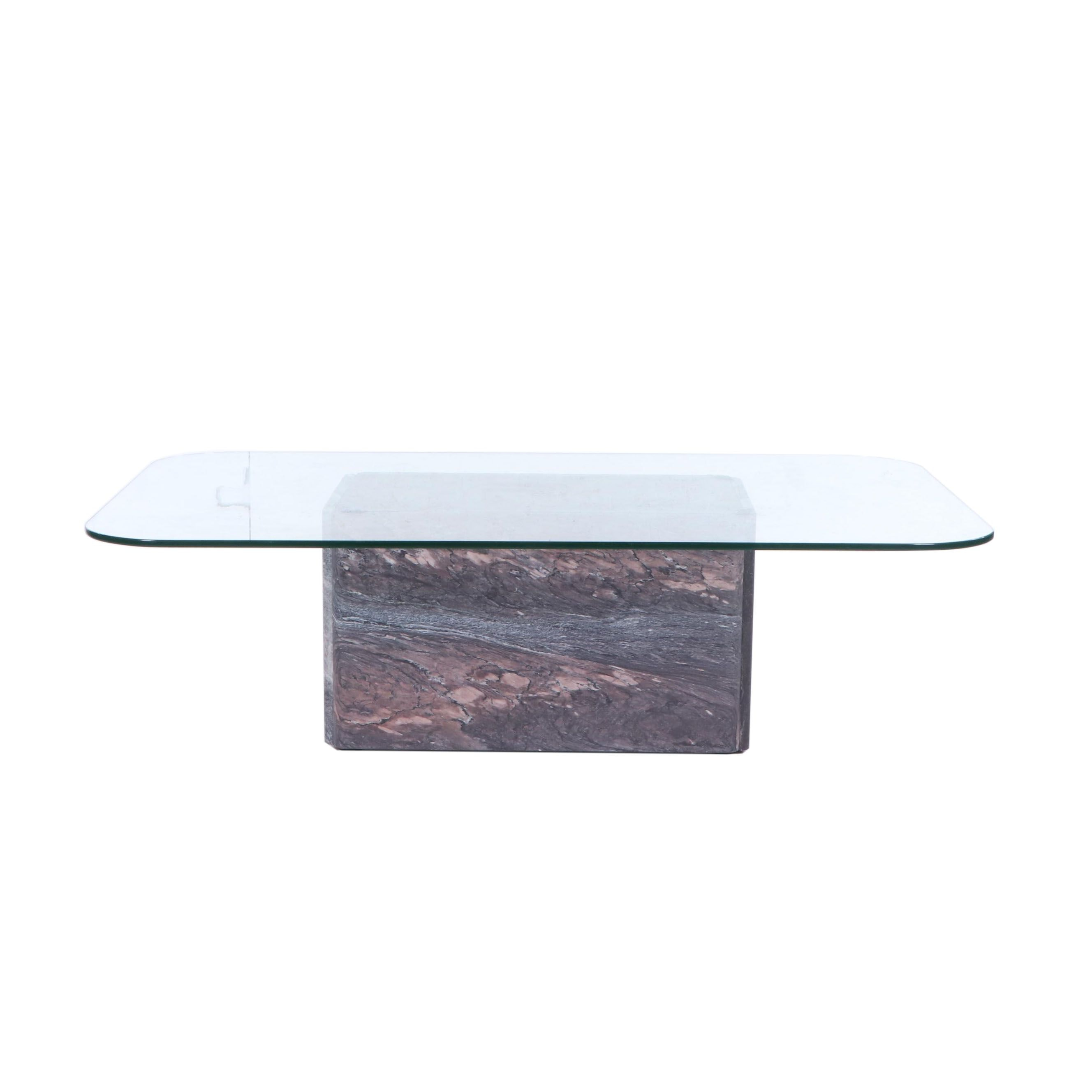 Contemporary Marble and Glass Coffee Table, 21st Century