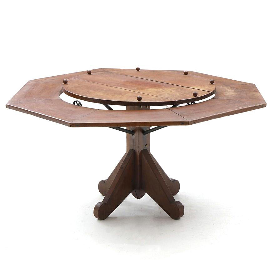 Antique Cherry Octagonal Lazy-Susan Table