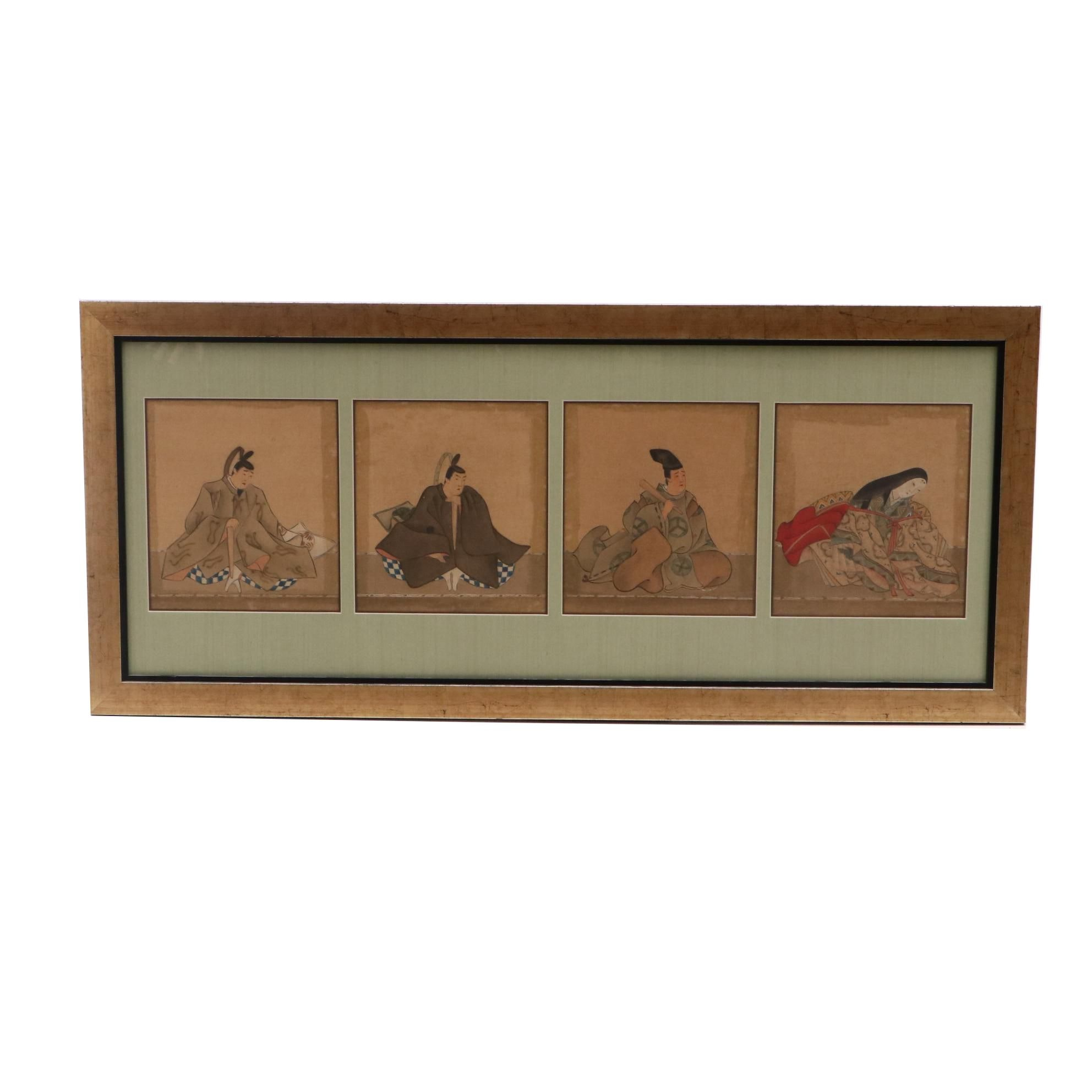 Four Antique Japanese Woodblock Portraits with Hand-Painted Accents