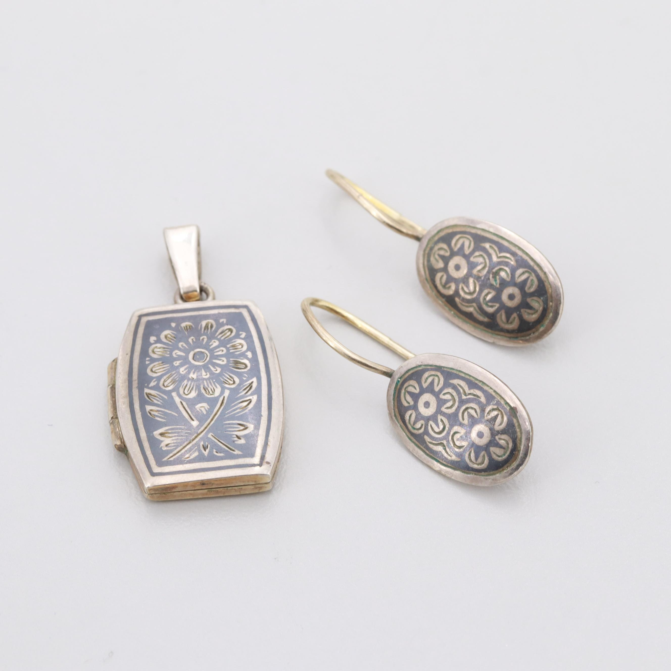 Vintage Russian 875 Silver Niello Locket Pendant and Earrings