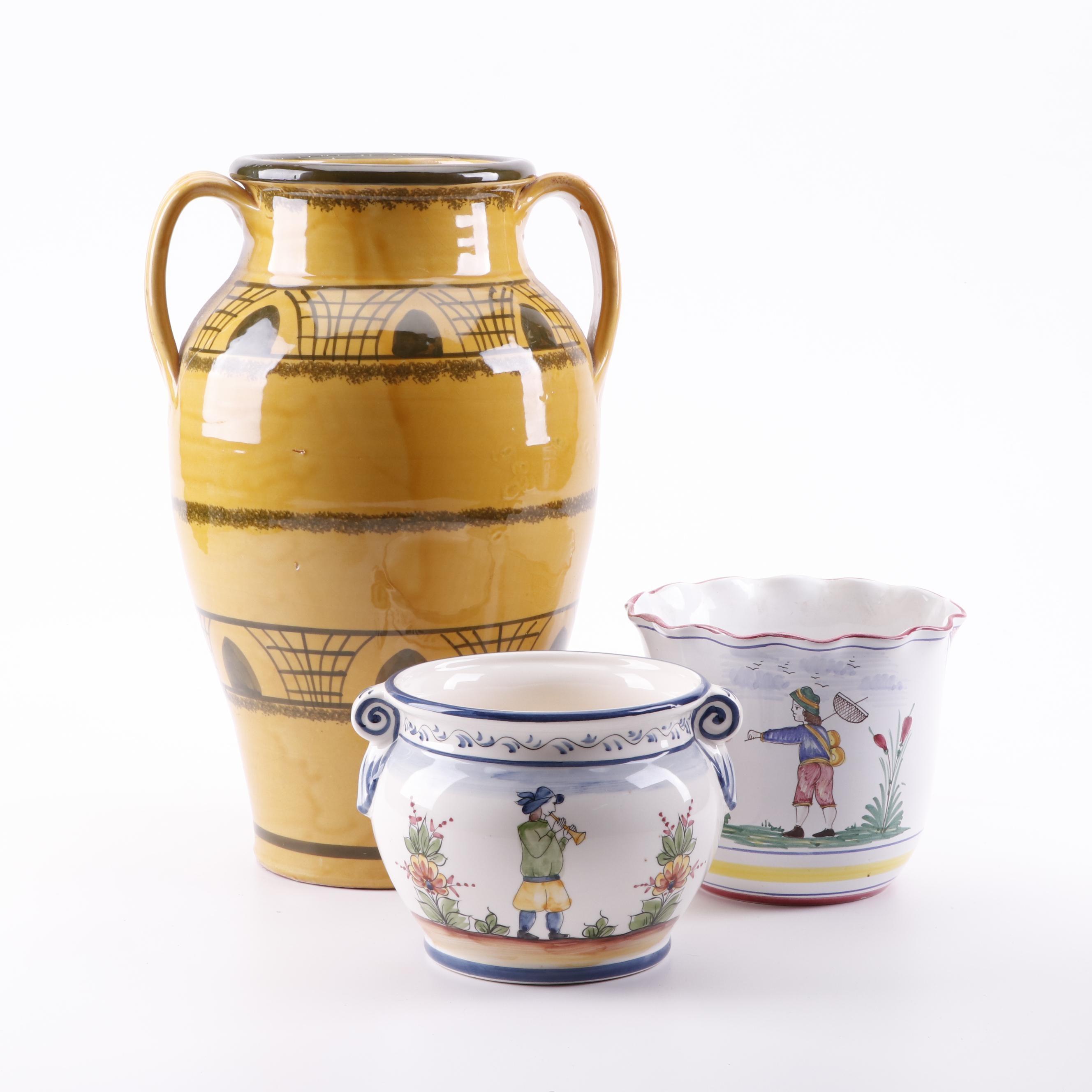 Lamas Italian Amphora Vase with Italian Deruta and Portugese Cachepots