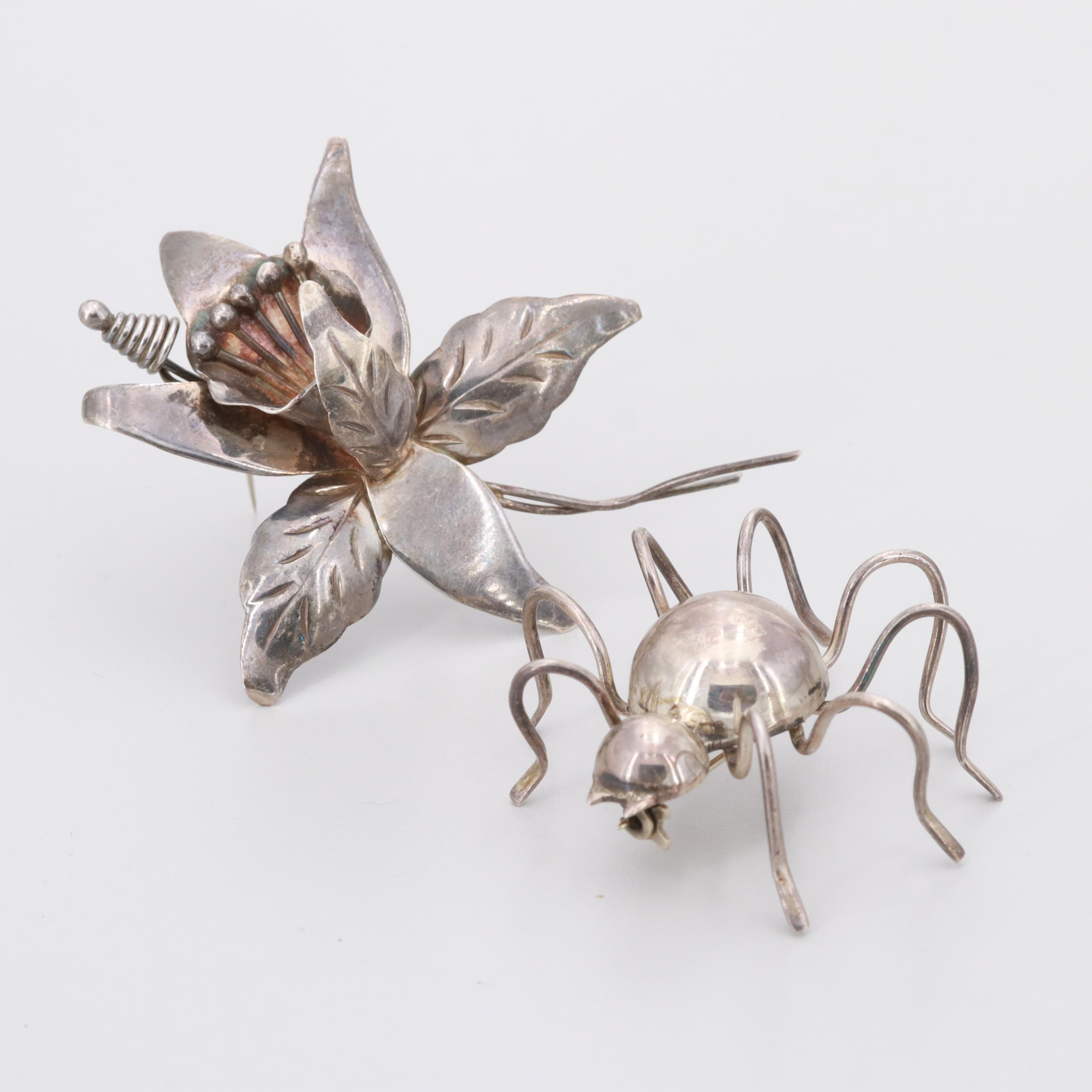 Vintage Mexican Sterling Silver Brooches