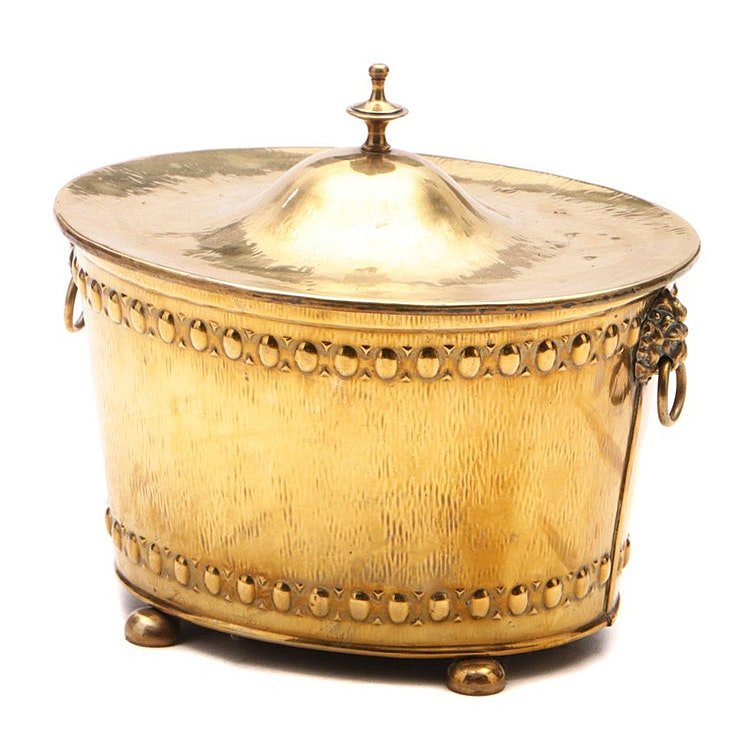 English Covered Brass Coal Bucket with Liner, Early 20th Century