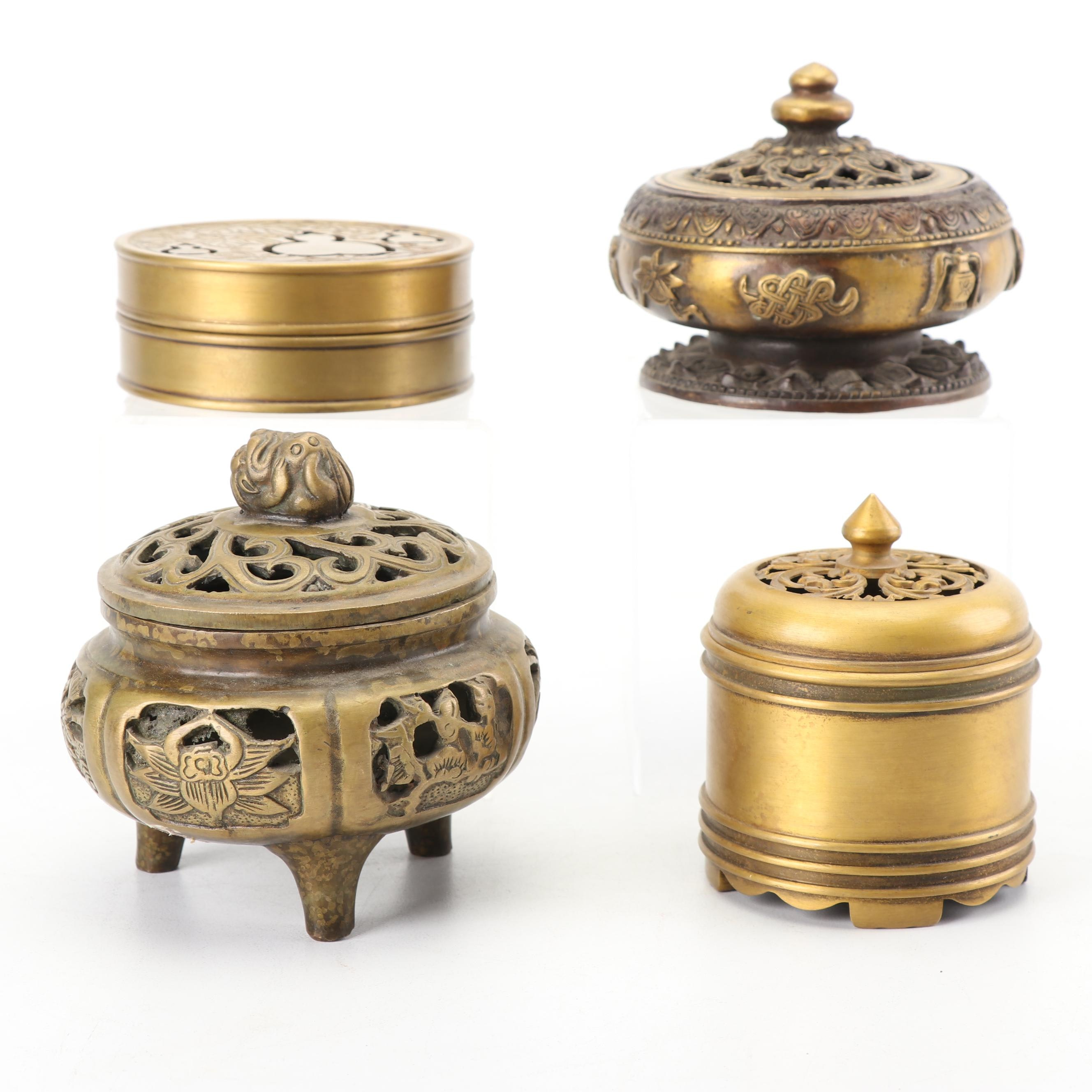 Chinese Pierced Brass Incense Burners