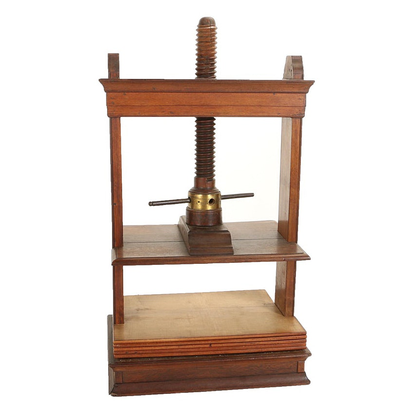 English Oak Free-Standing Book Press, 19th Century