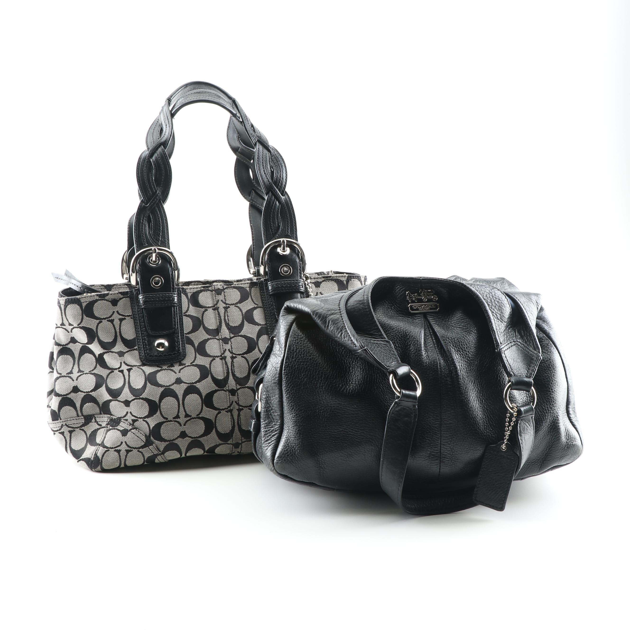 Coach Monogram Canvas and Black Leather Handbags