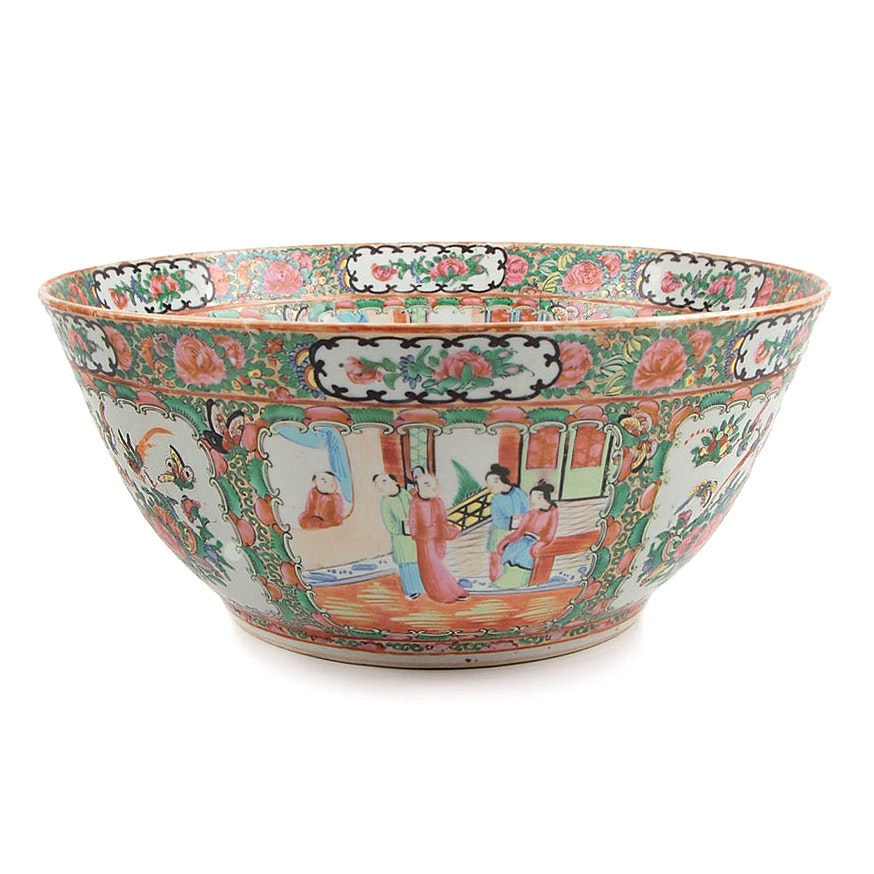 Chinese Porcelain Rose Medallion Punch Bowl, Mid-19th Century