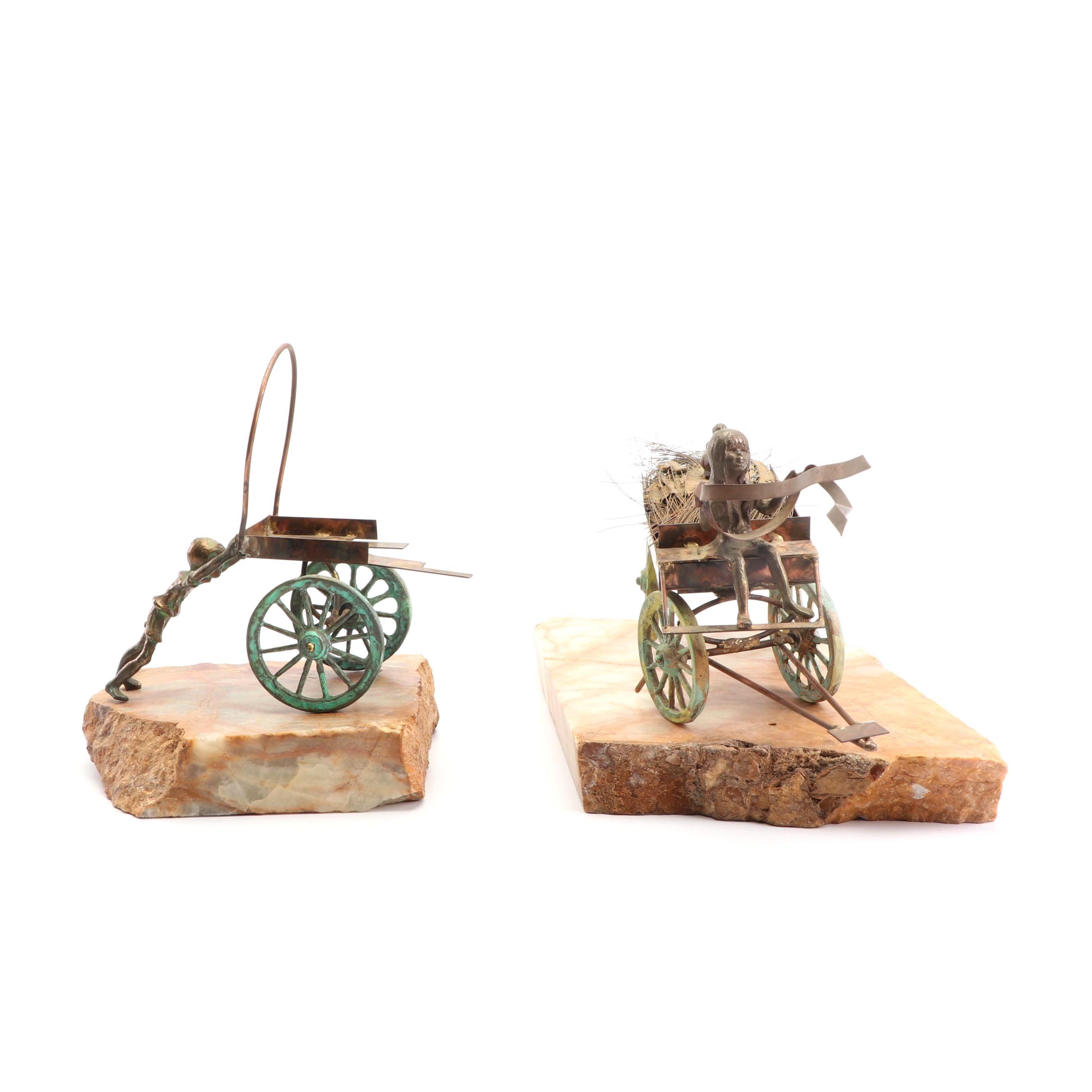 Bijan J. Bijan Brass and Copper Alloy Wagon Sculptures