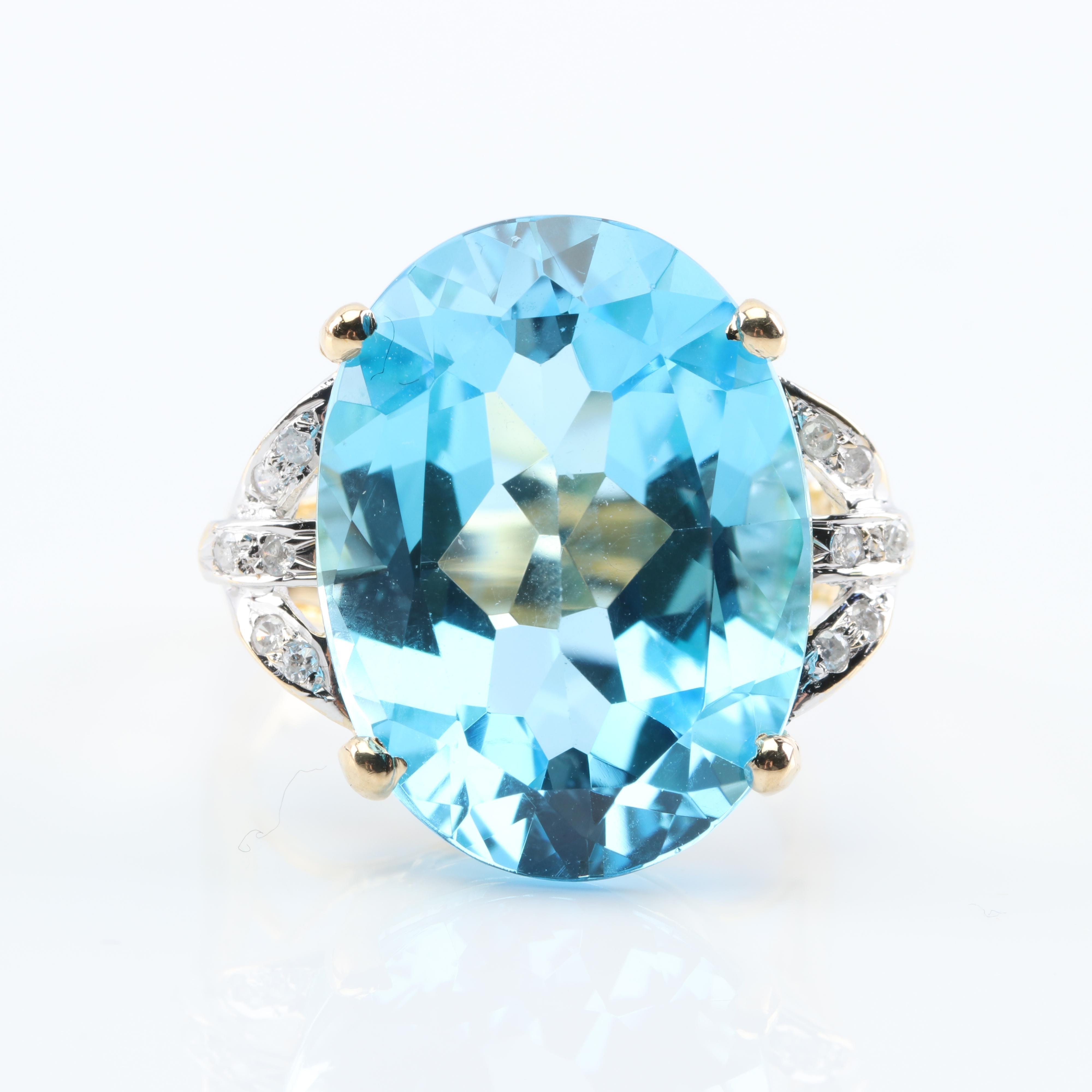 14K Yellow Gold 18.75 Carat Blue Topaz and Diamond Ring