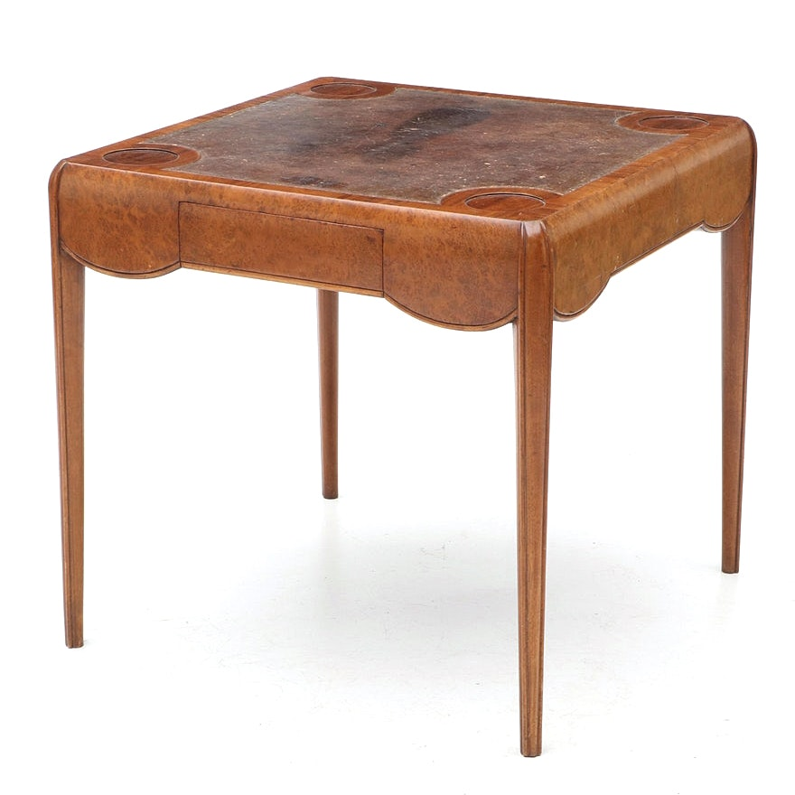French Art Deco Mahogany and Amboyna Burl Game Table in the Style of Ruhlmann