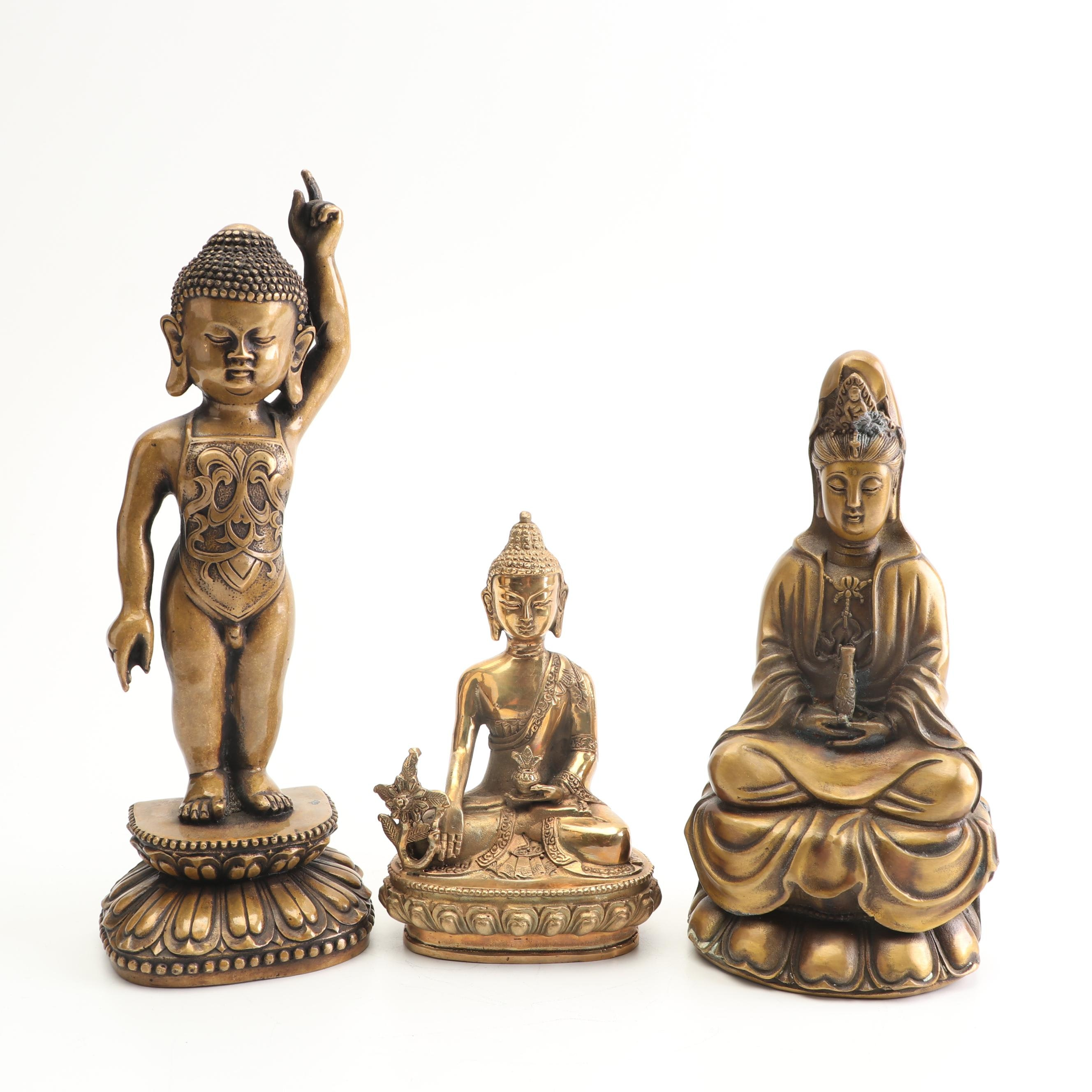 Chinese Brass Religious Figurines