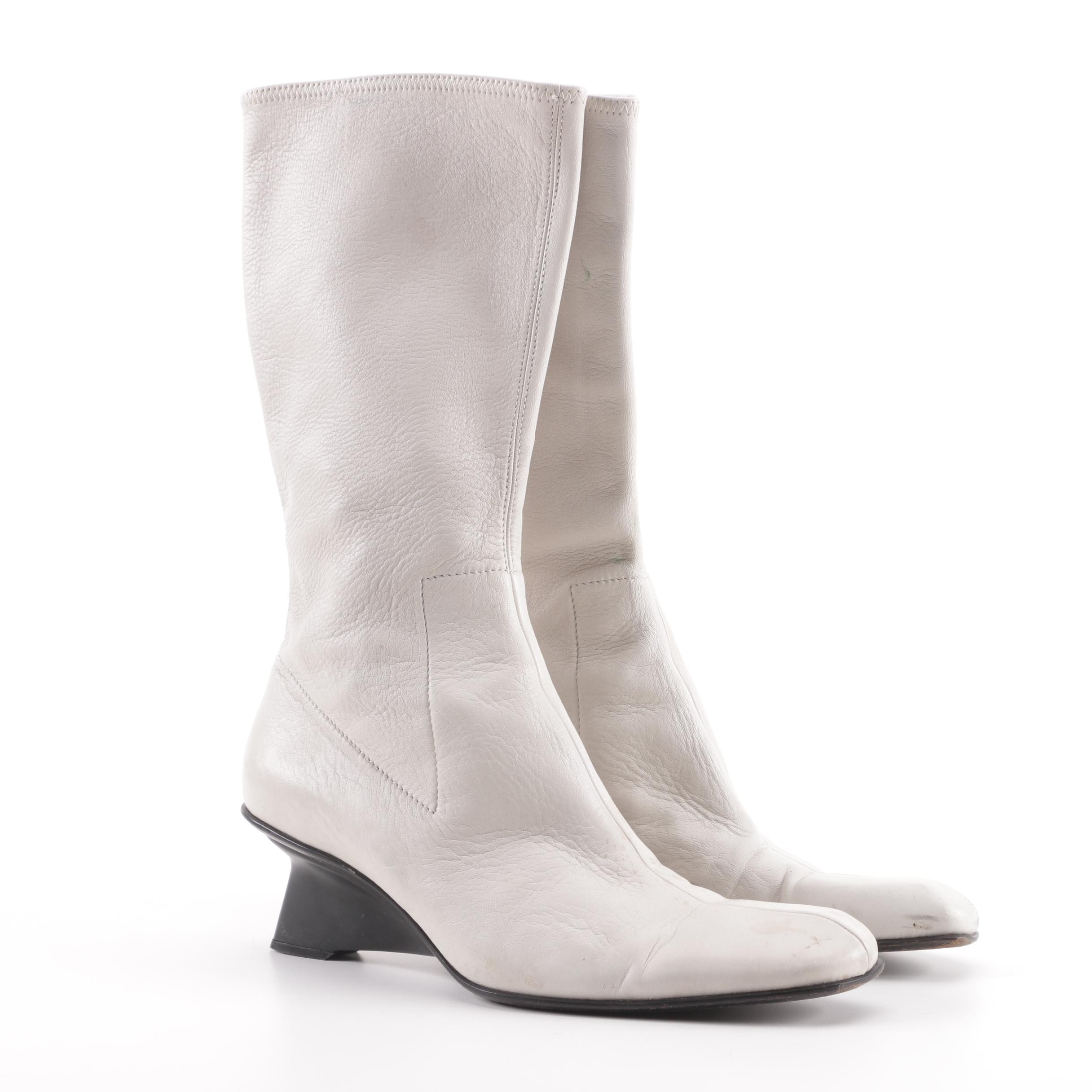 Prada Grey Leather Calf-Length Boots, Made in Italy