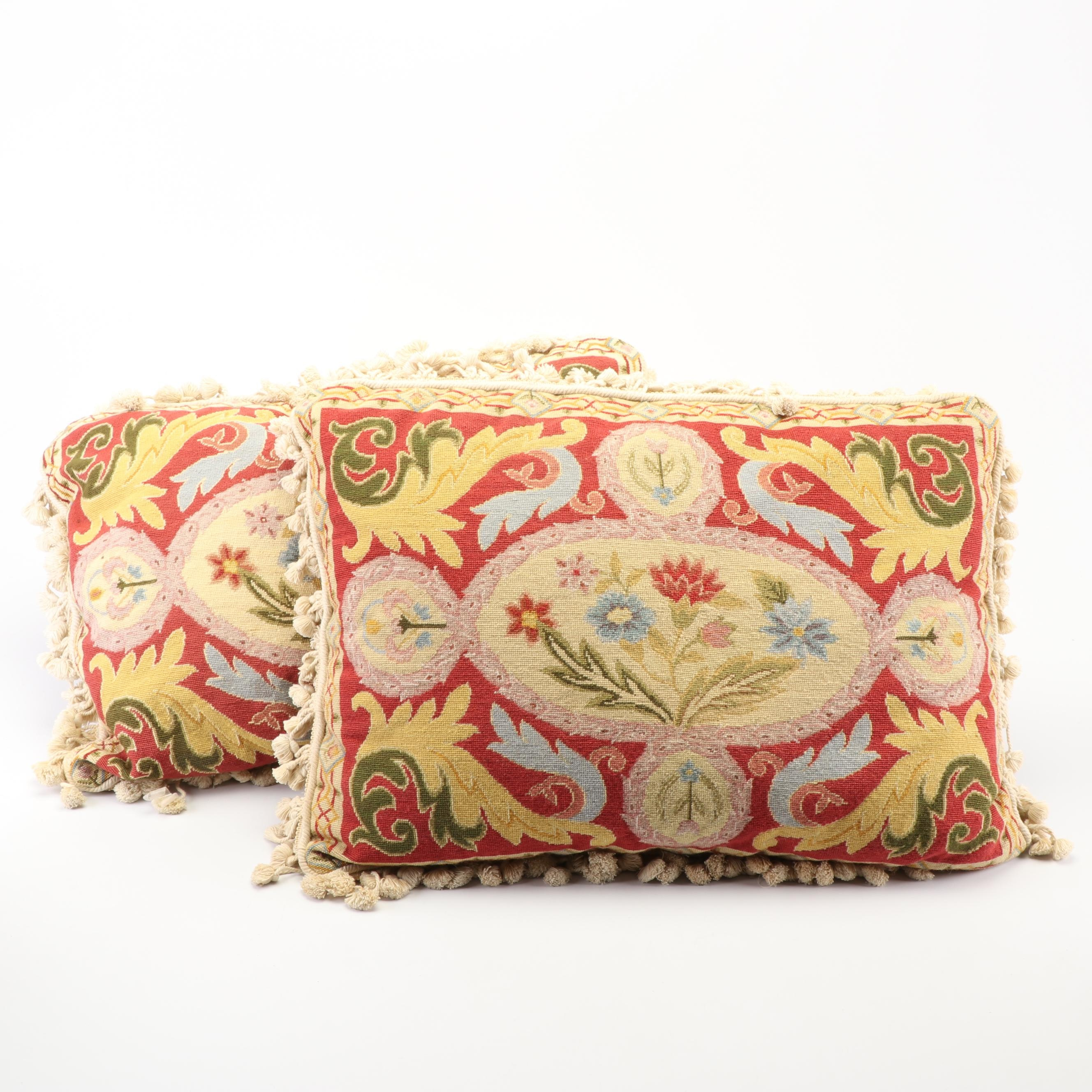 Needlepoint Floral and Foliate Accent Pillows with Tassel Trim