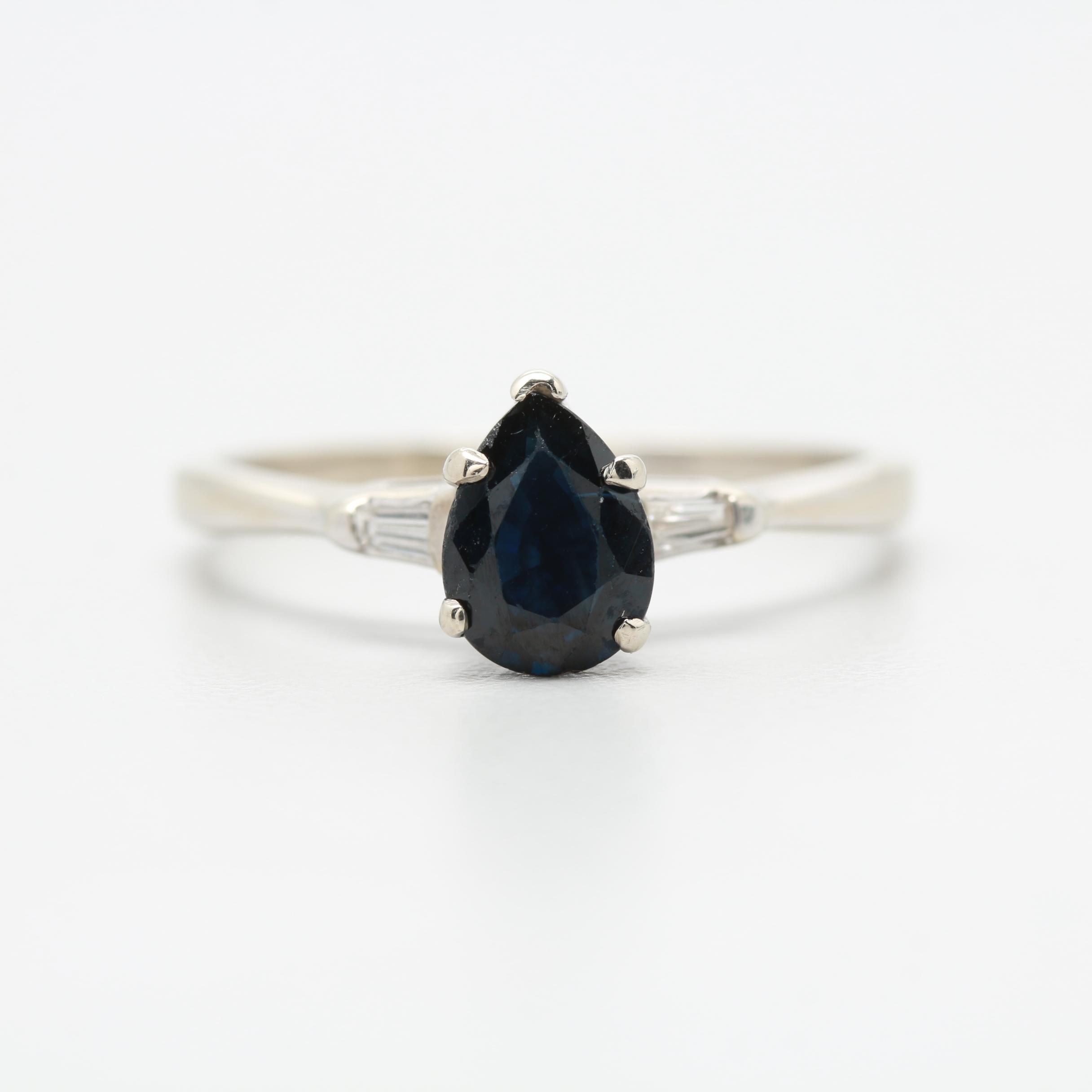 14K White Gold 1.17 CT Sapphire and Diamond Ring