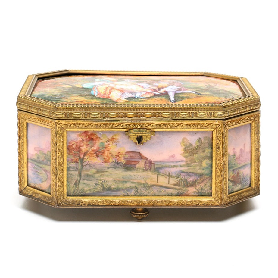 A la Marquise de Sévigné Enamel and Copper Casket Jewelry Box, 19th Century