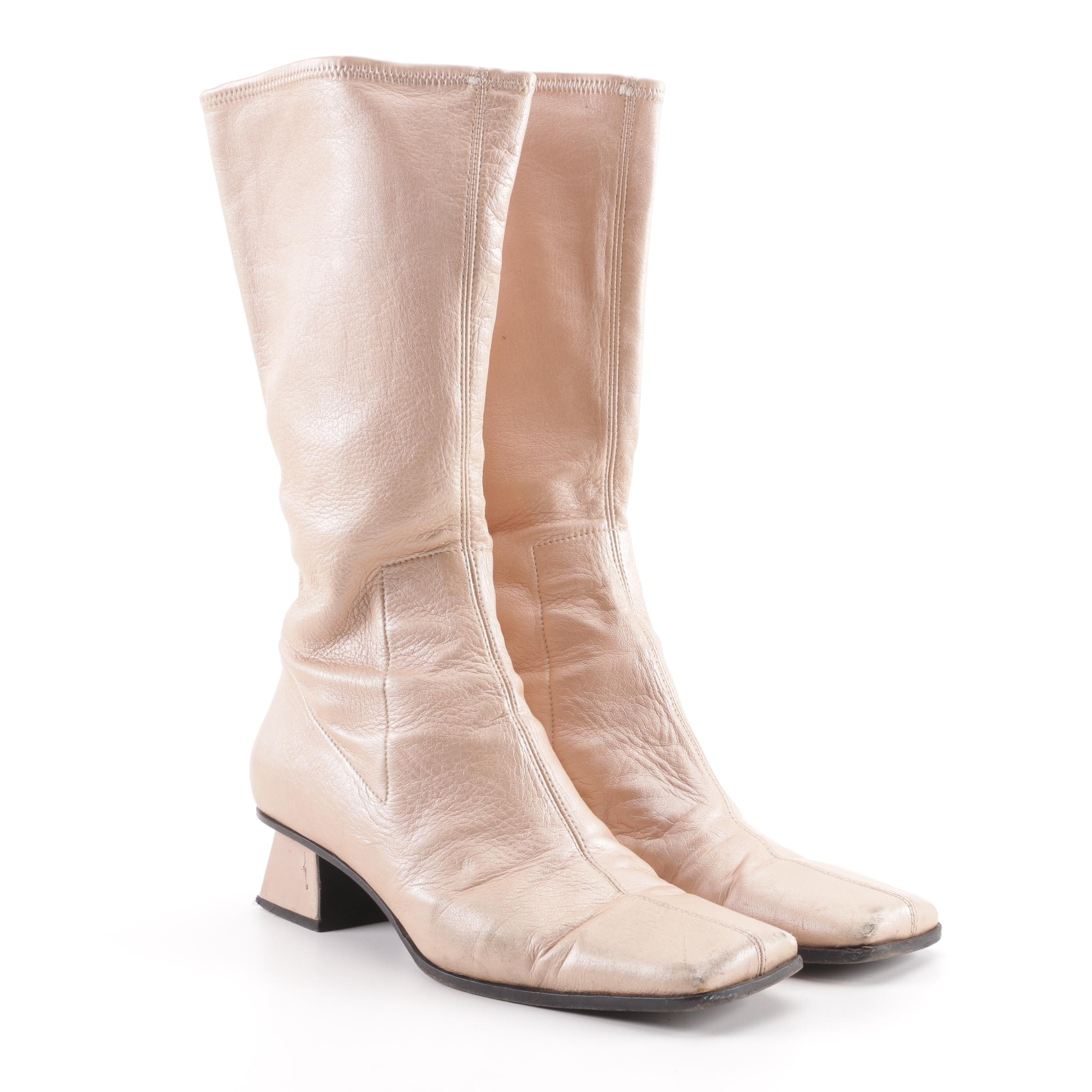Miu Miu Rose Gold Leather Calf High Boots, Made in Italy
