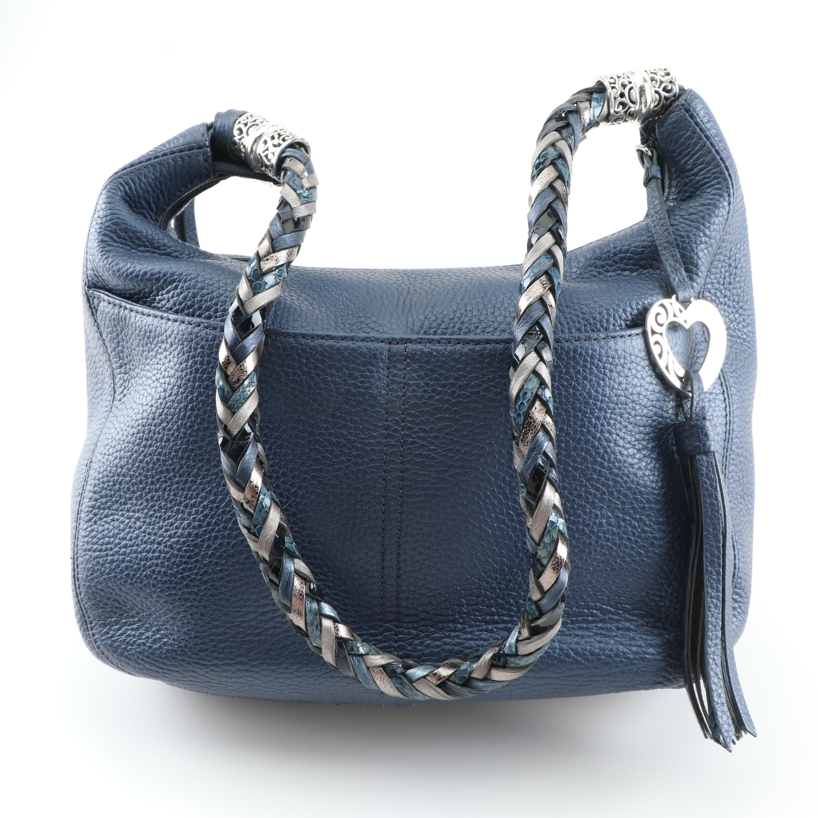 Brighton Deep Blue Pebbled Leather Hobo Bag with Braided Strap