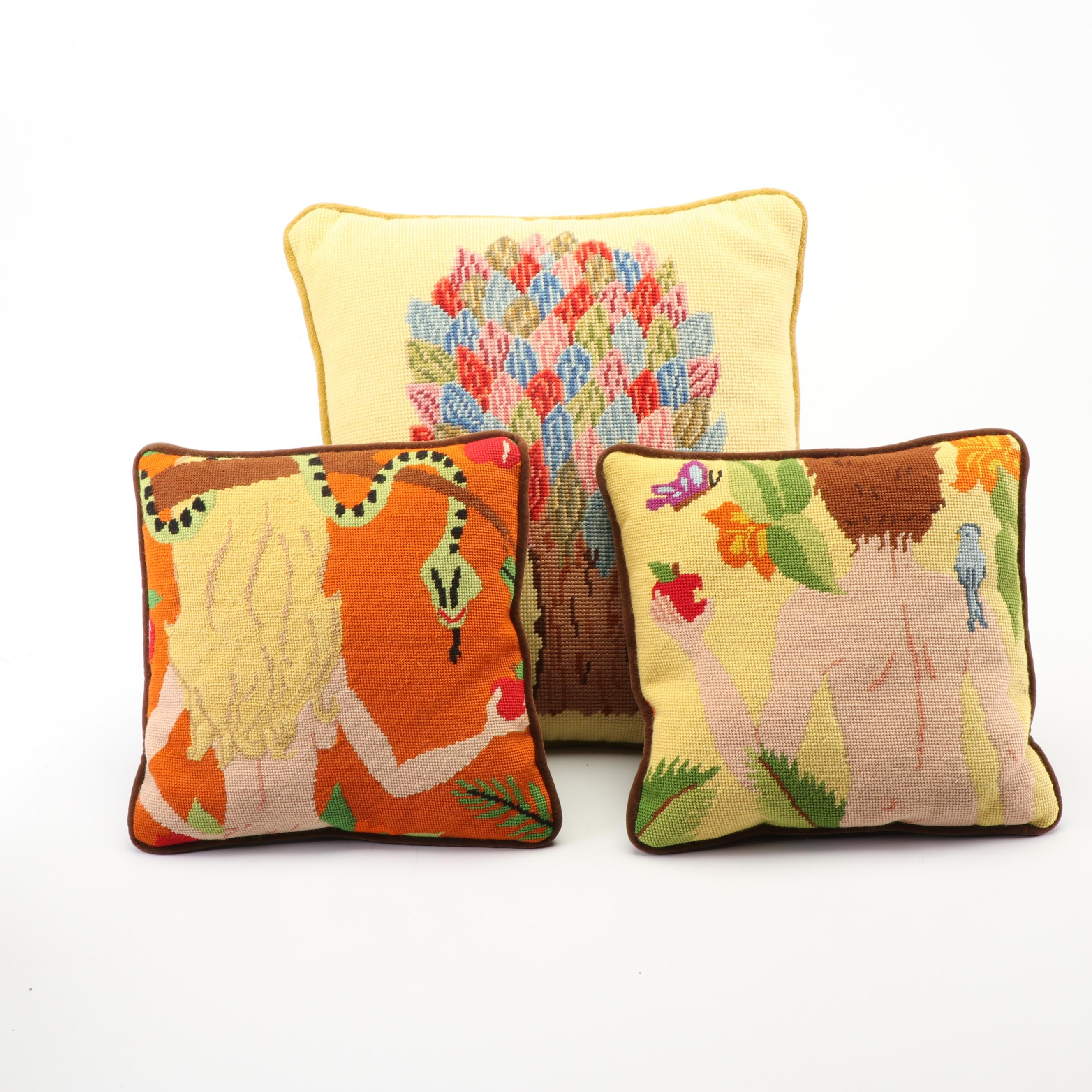Adam and Eve Hand-Stitched Throw Pillows