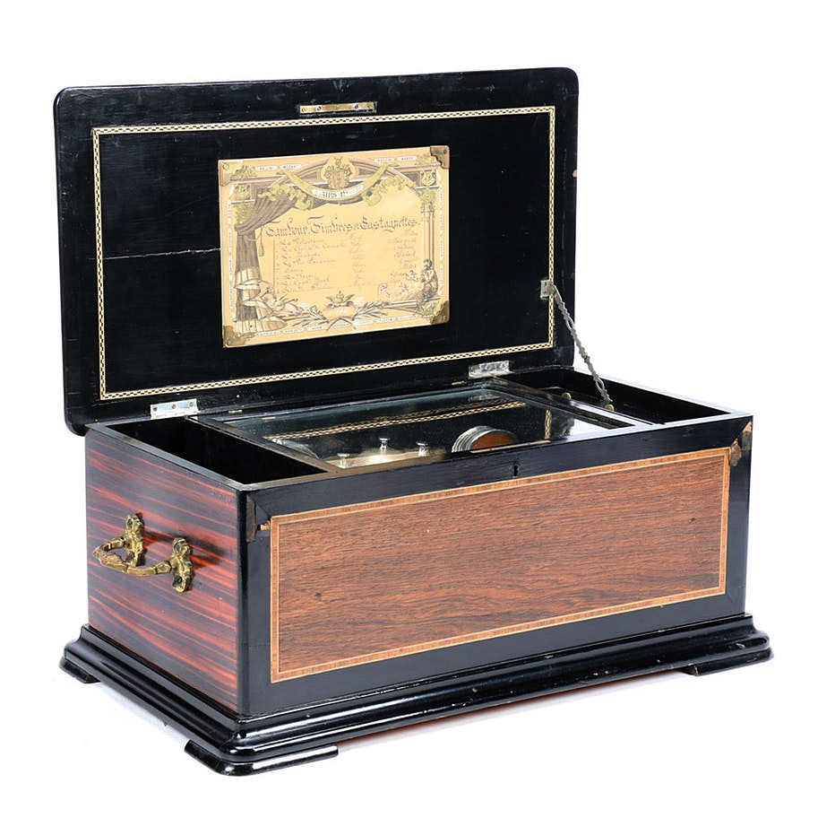 Swiss Rosewood and Ebonized Marquetry 8 Air Music Box, No. 15138