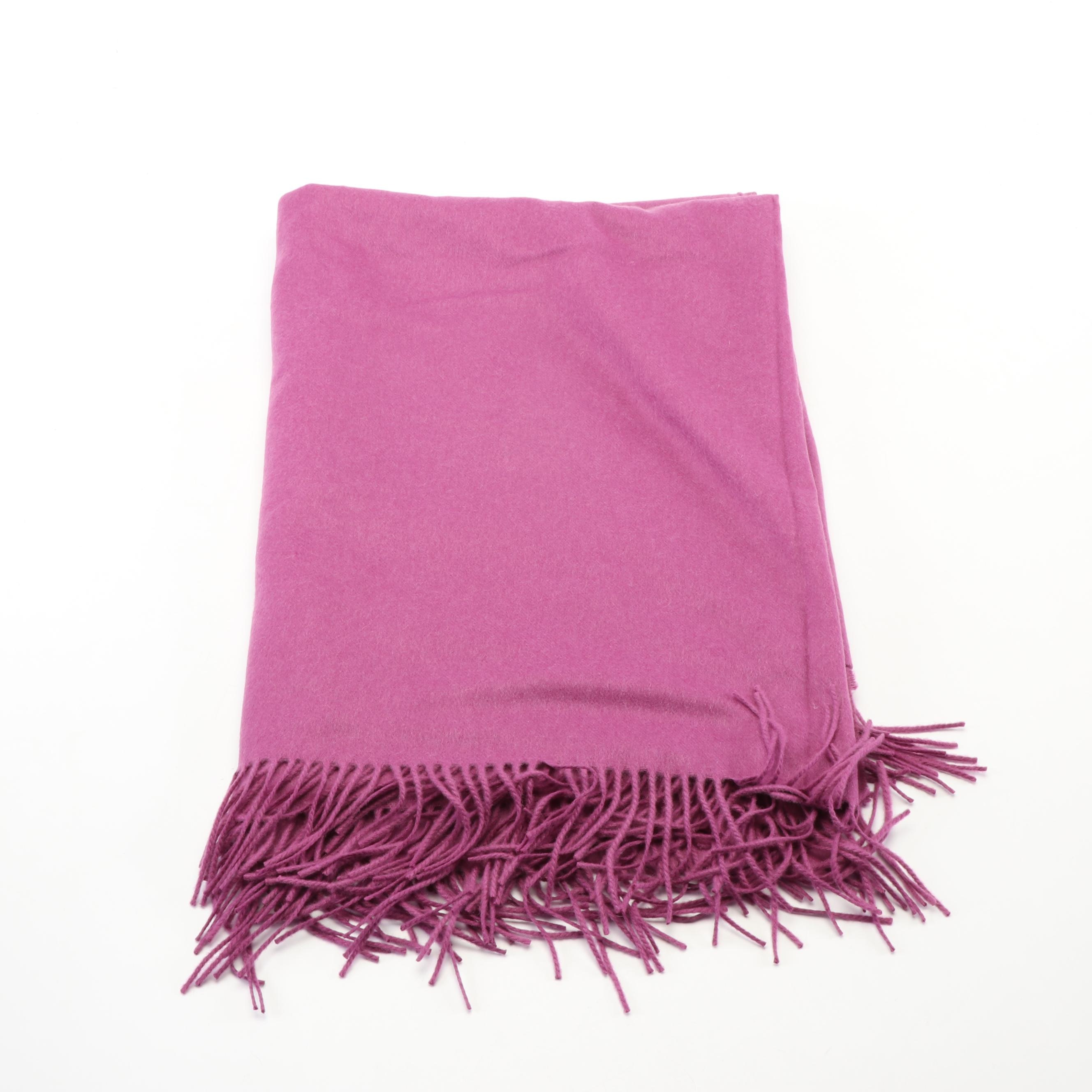 Johnstons of Elgin Magenta 100% Cashmere Shawl with Fringe, Made in Scotland