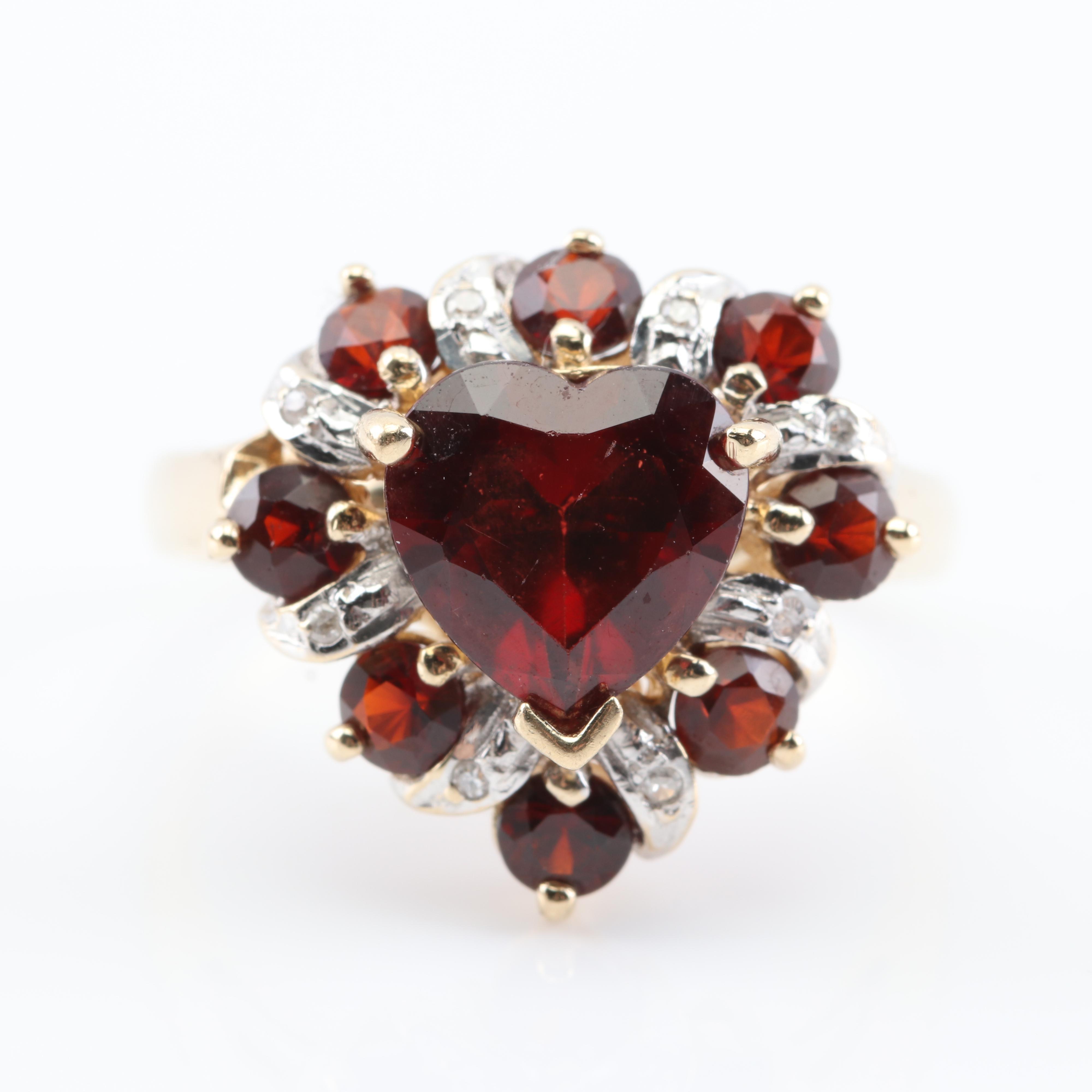 14K Yellow Gold Heart Shape Garnet and Diamond Ring