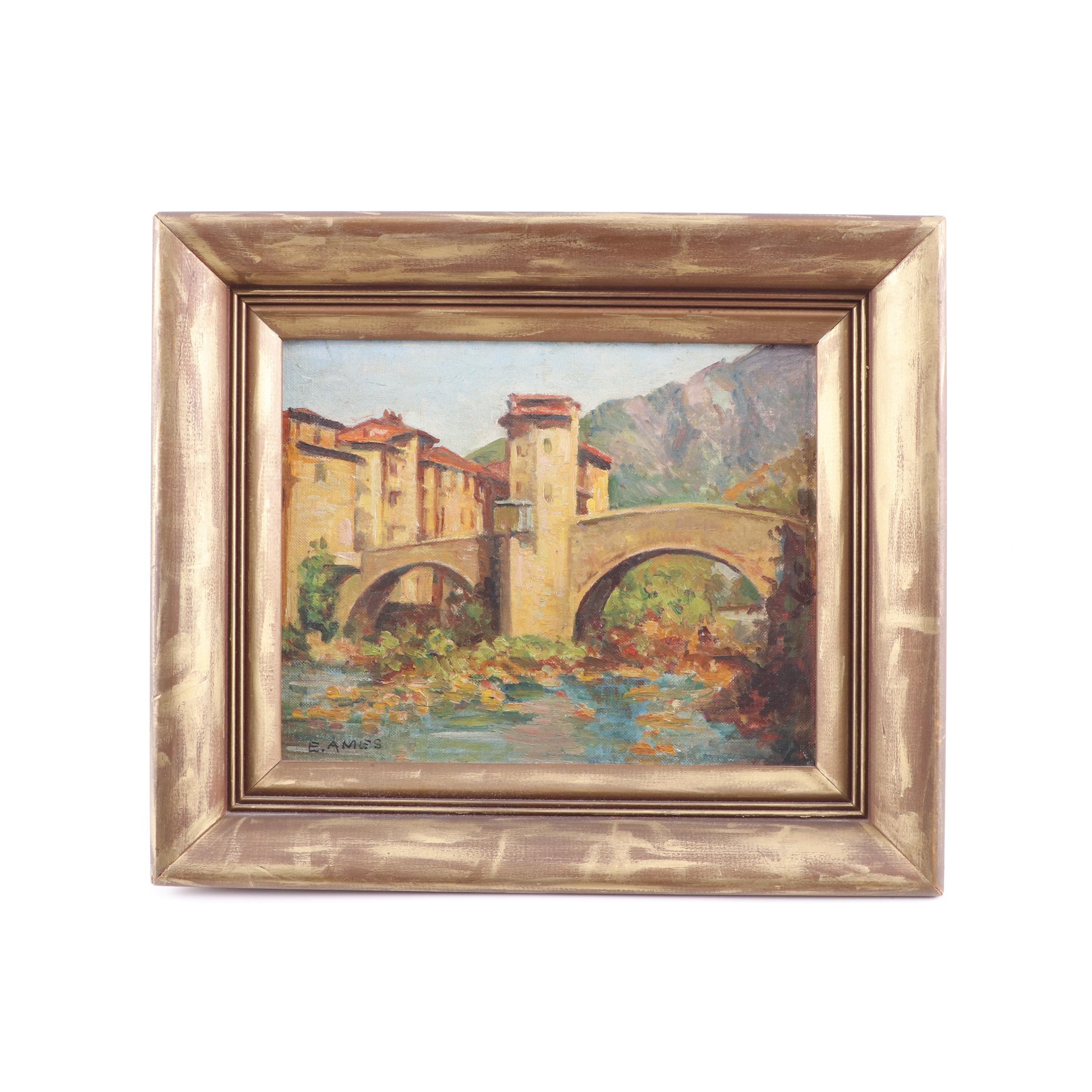 E. Ames European Landscape Oil Painting