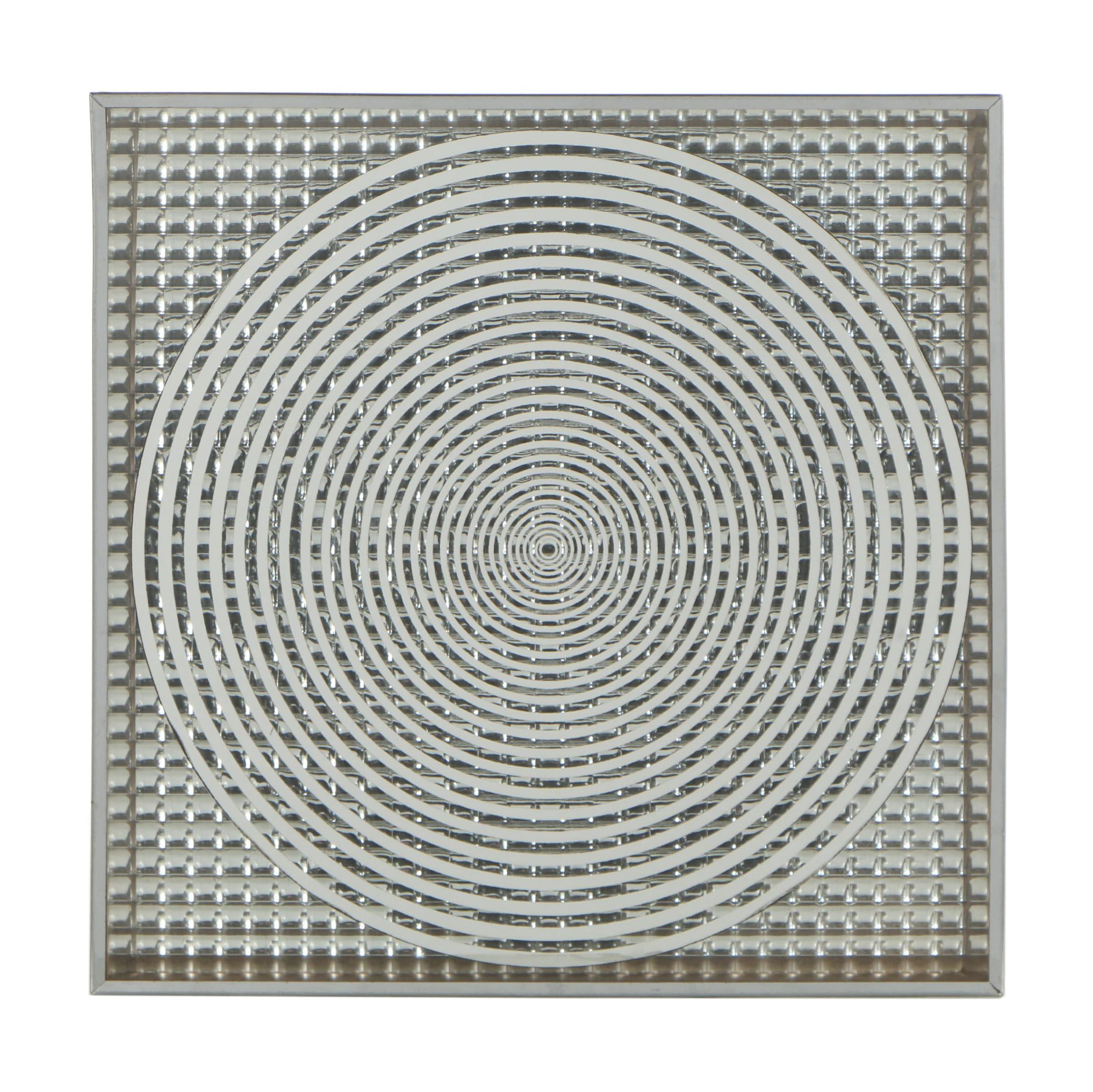 Mirrored Silver-Tone 3-D Op Art