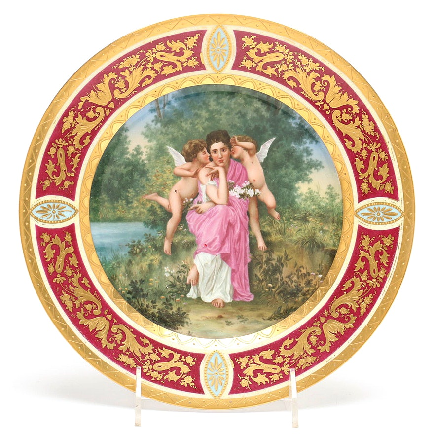 Royal Vienna Hand-Painted Porcelain Plate, Late 19th to Early 20th Century