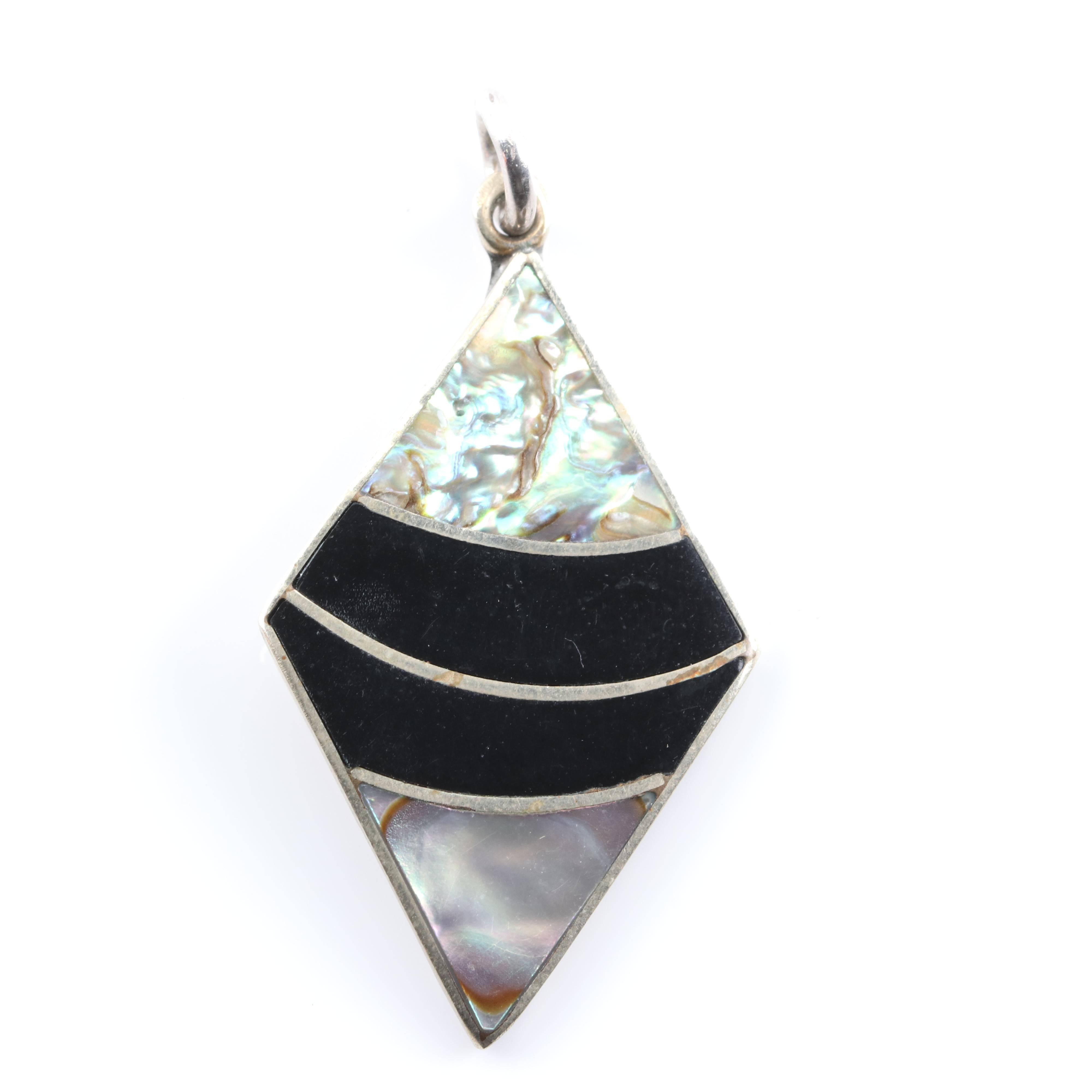 Silver Plated Abalone, Mother of Pearl and Black Onyx Pendant