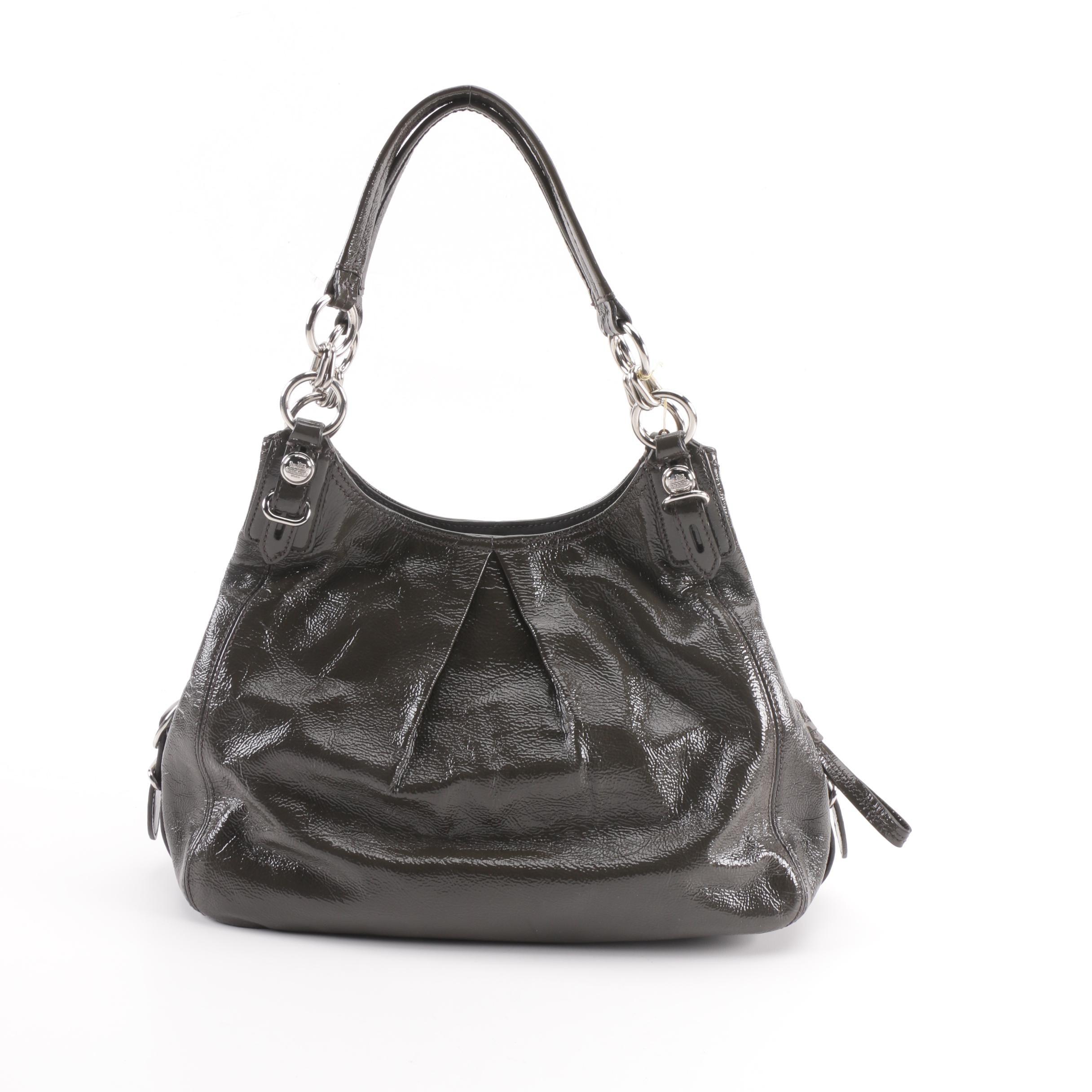 Coach Mia Maggie Graphite Patent Leather Hobo Bag