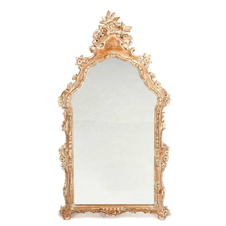 Italian Provincial Style Cream-Painted Pine Mirror, 20th Century