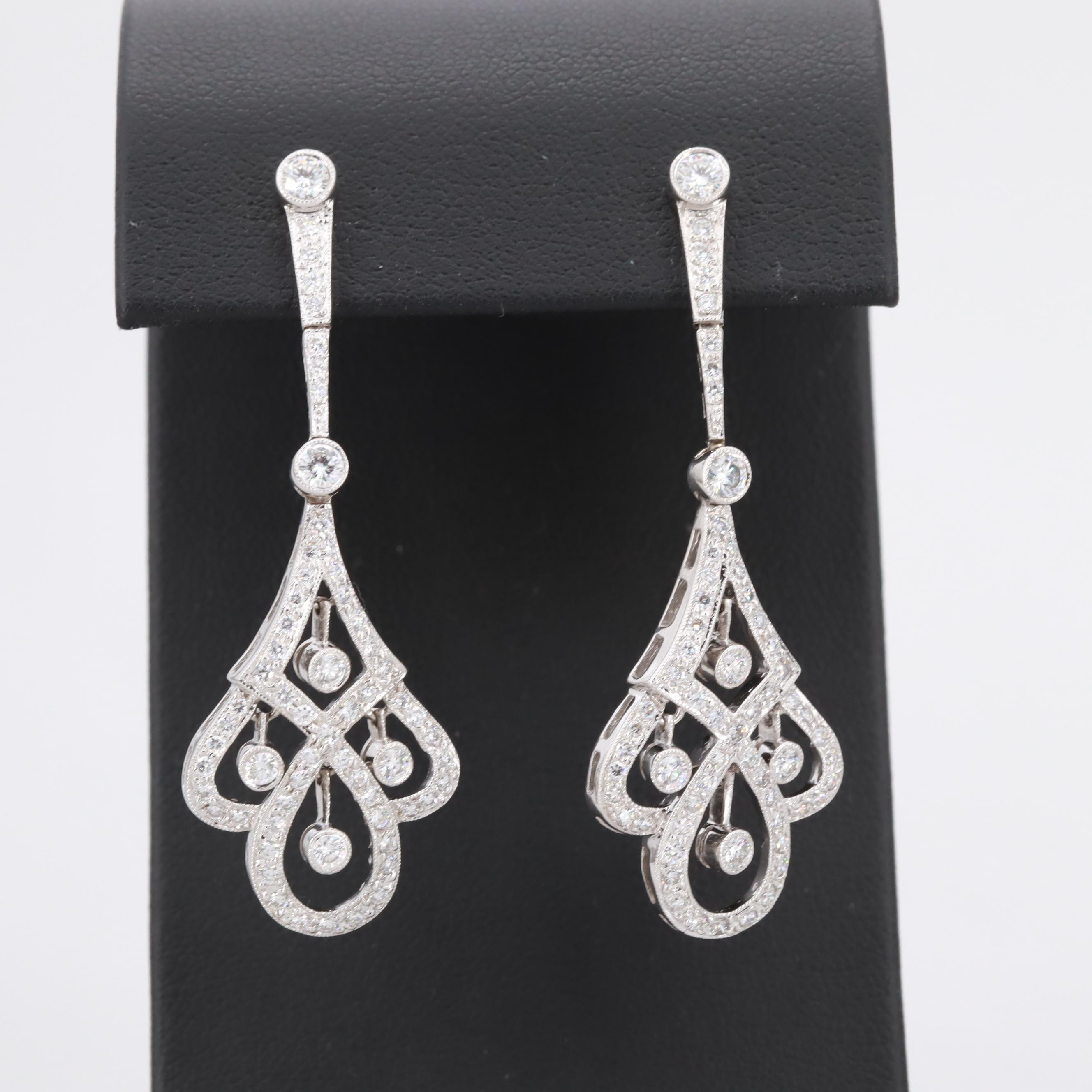 18K White Gold 1.77 CTW Diamond Chandelier Earrings