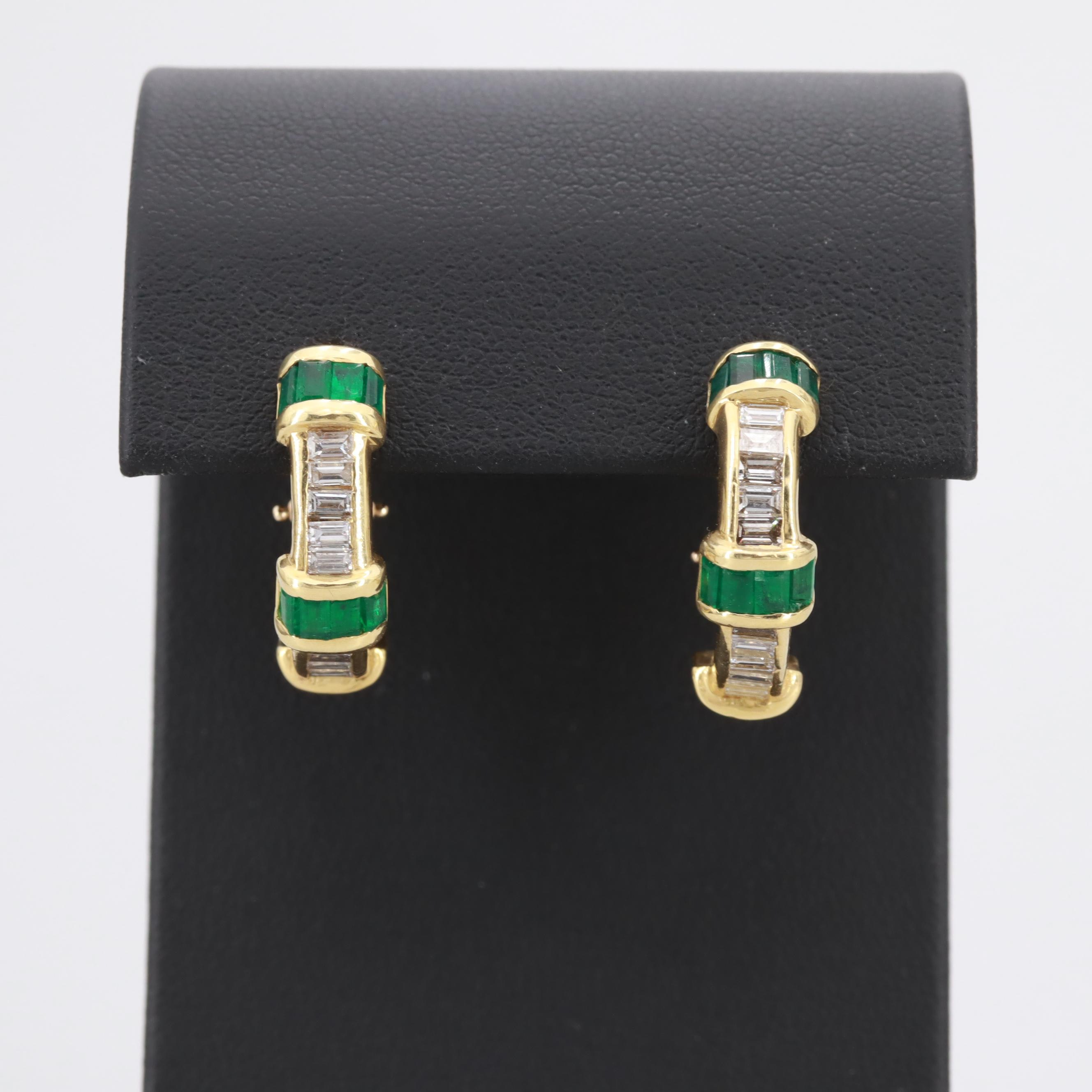 18K Yellow Gold Emerald and 1.87 CTW Diamond Half Hoop Earrings