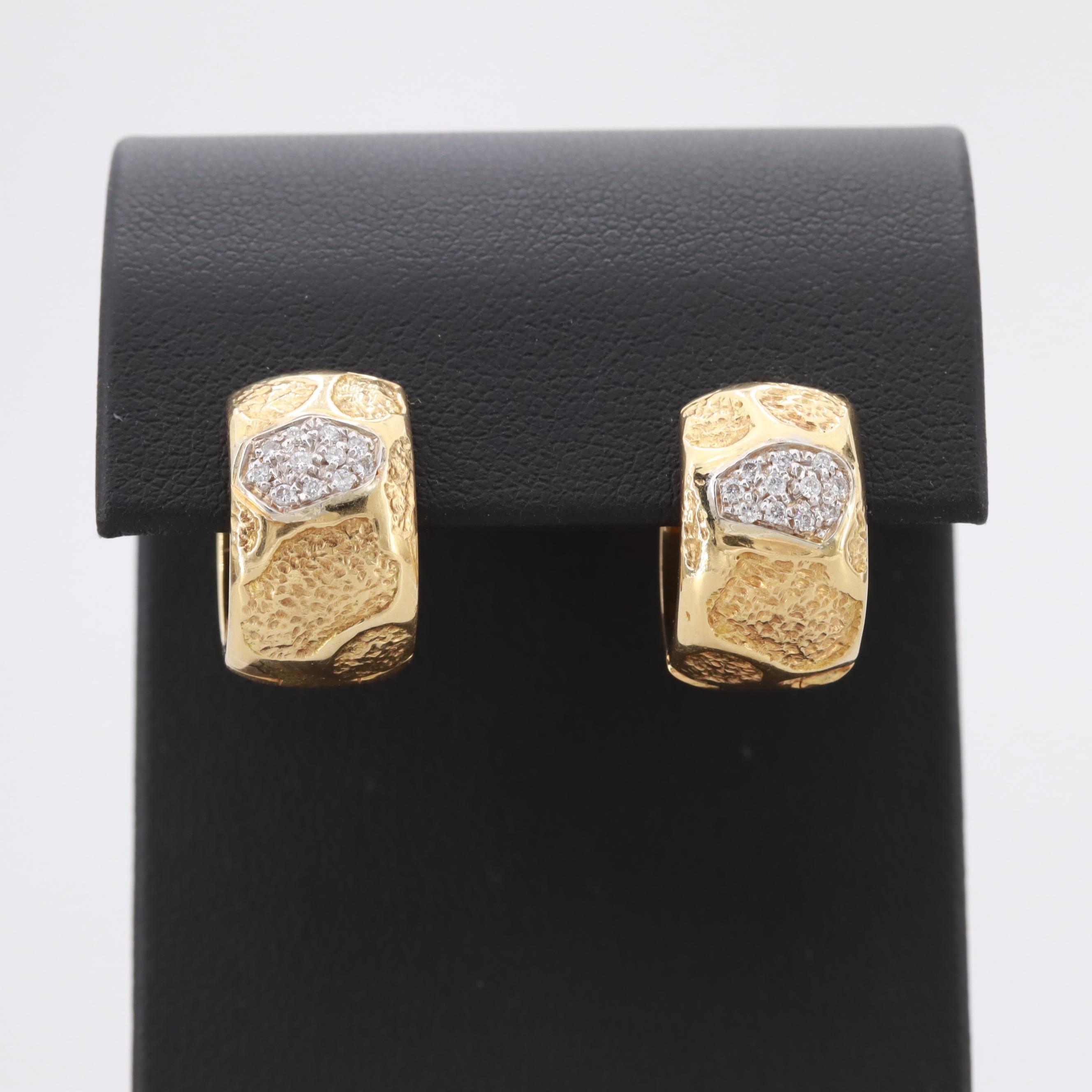 Lani Italian 18K Yellow Gold Diamond Huggie Earrings