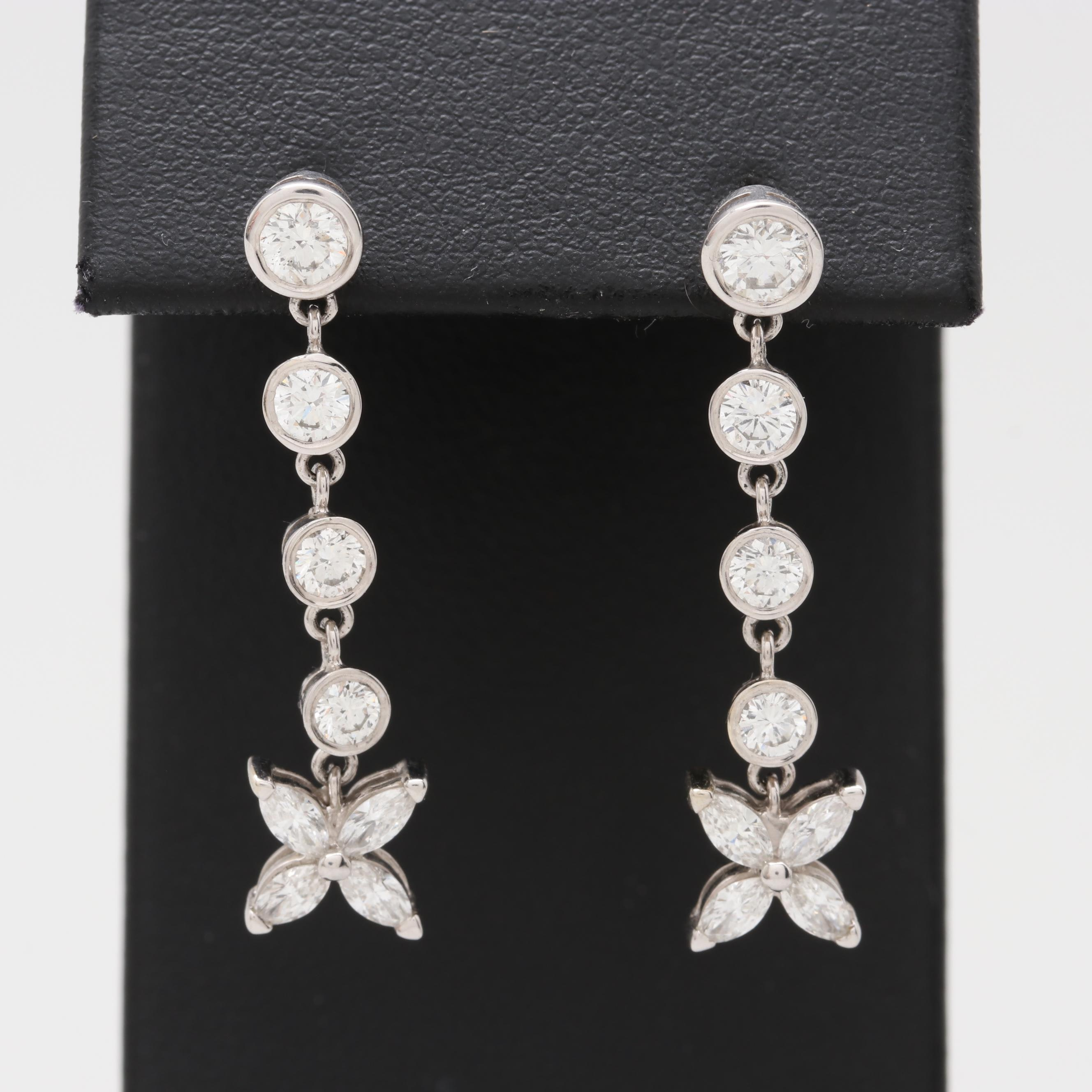 14K White Gold 2.24 CTW Diamond Drop Earrings