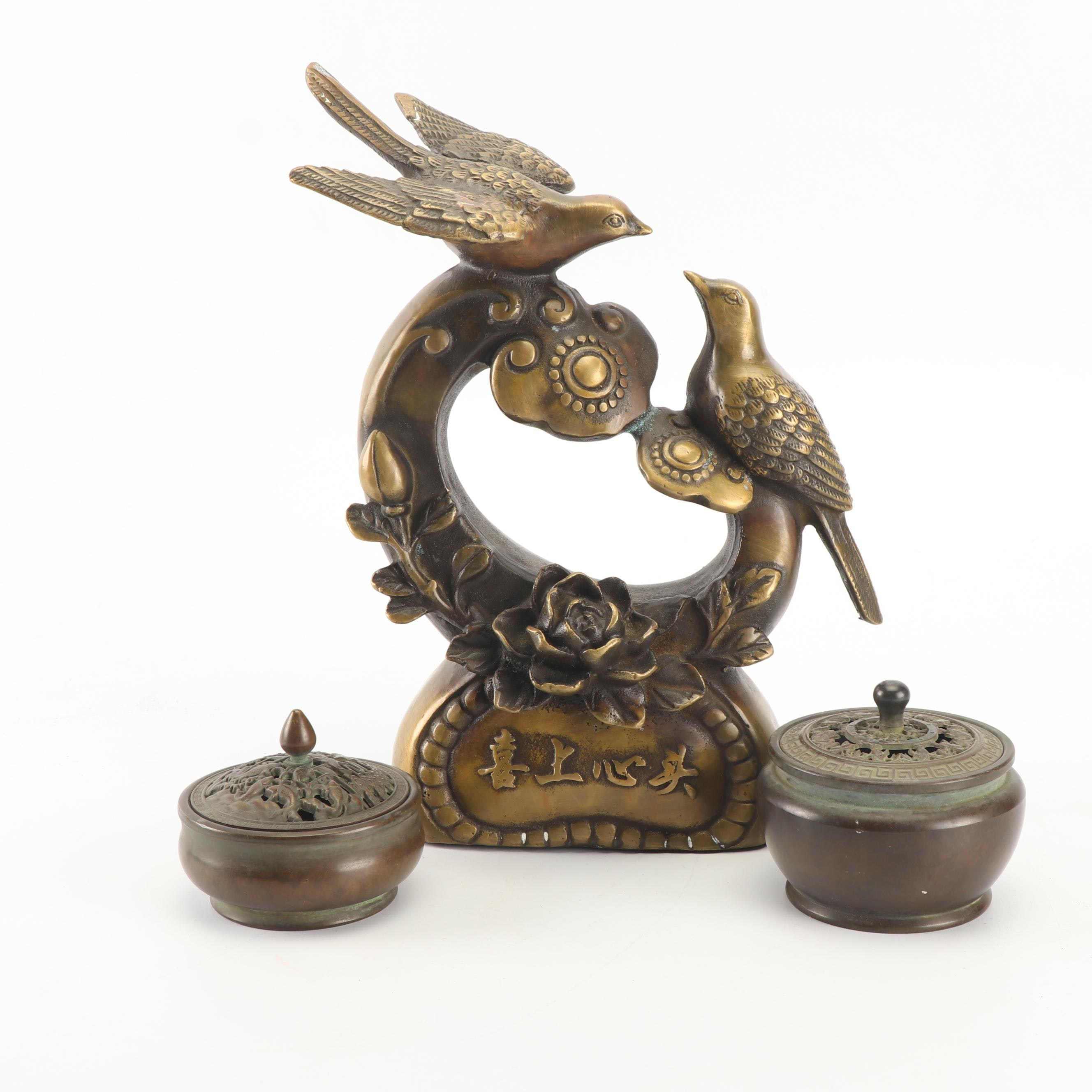 Chinese Brass Censers and Figurine
