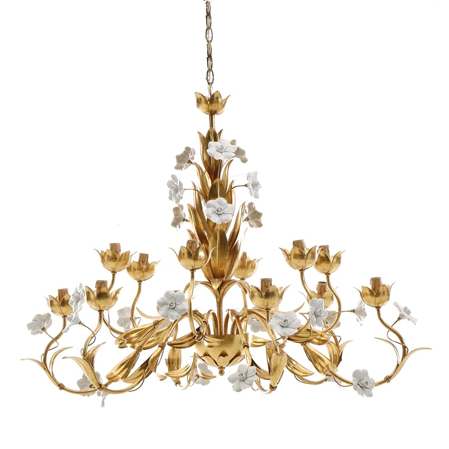 Metal and Ceramic Tole Floral Chandelier