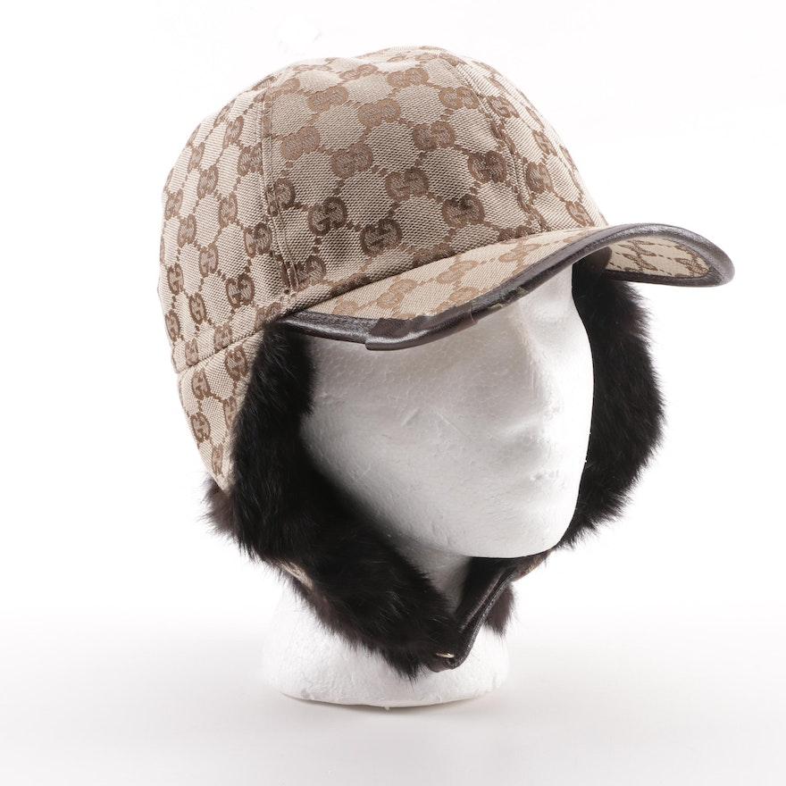 Gucci GG Canvas Ear Flap Baseball Cap with Rabbit Fur Trim   EBTH 53a43672c67