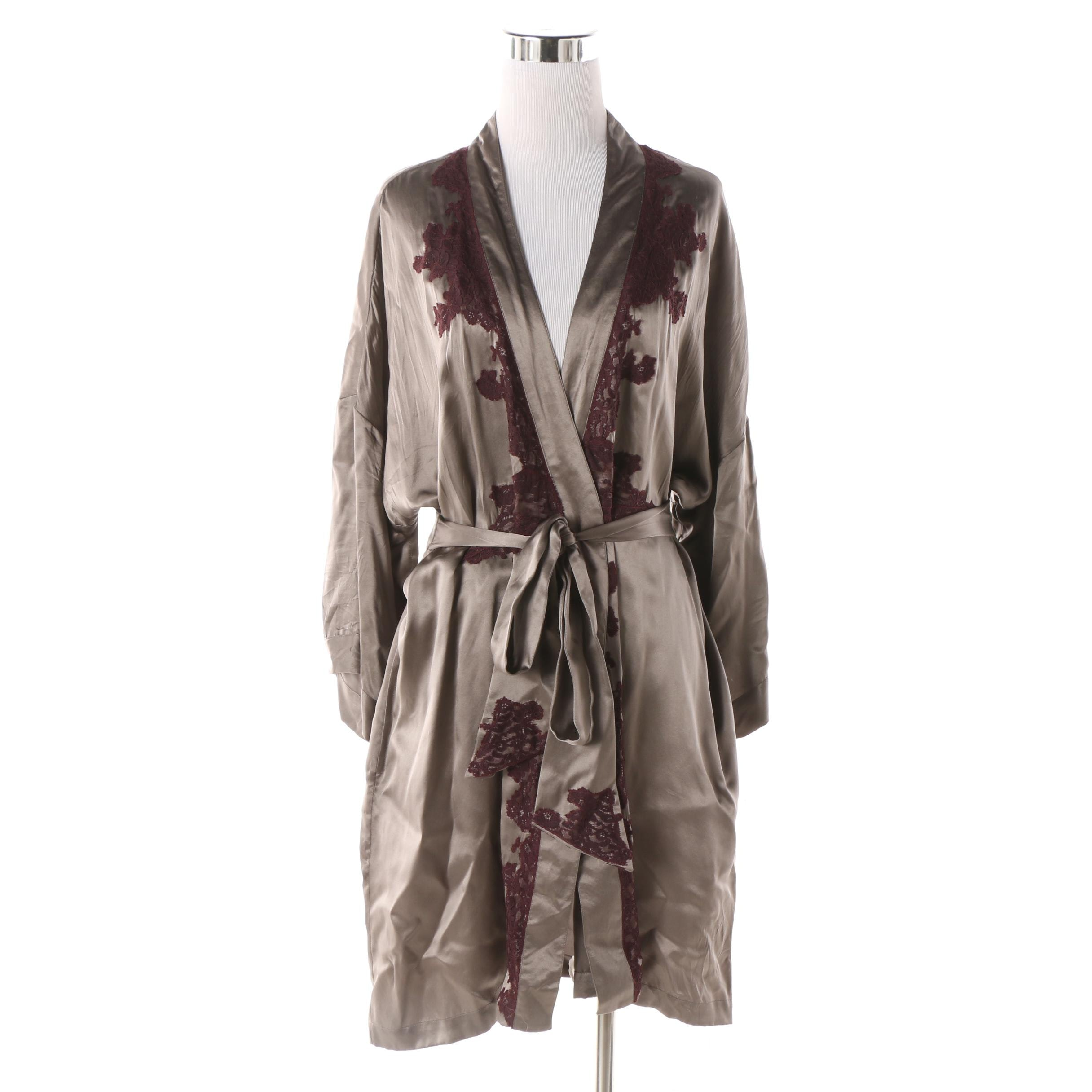 Leigh Bantivoglio Grey Silk Robe with Lace Trim and Tie Belt