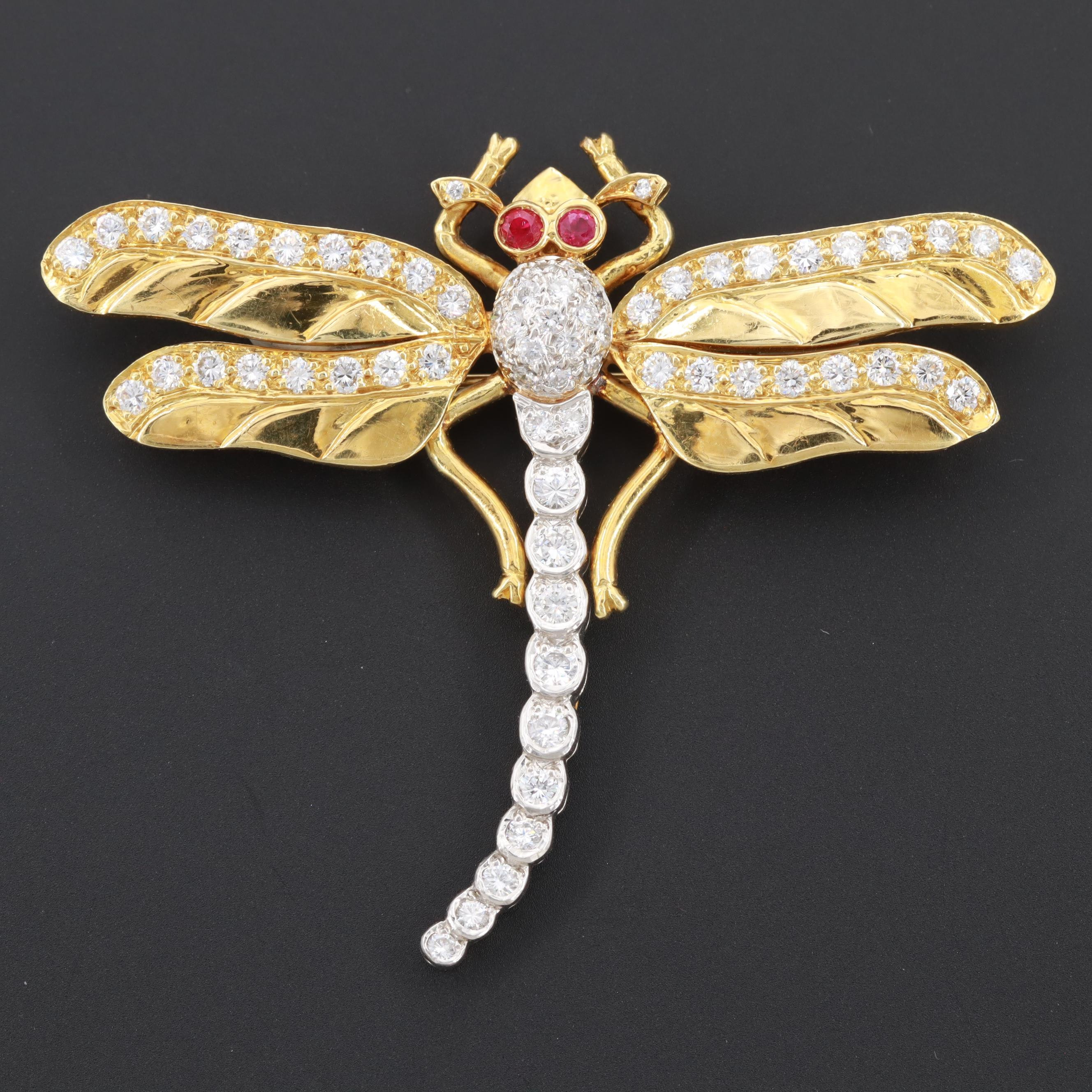 18K Yellow Gold and Platinum 1.98 CTW Diamond and Ruby Dragonfly Brooch